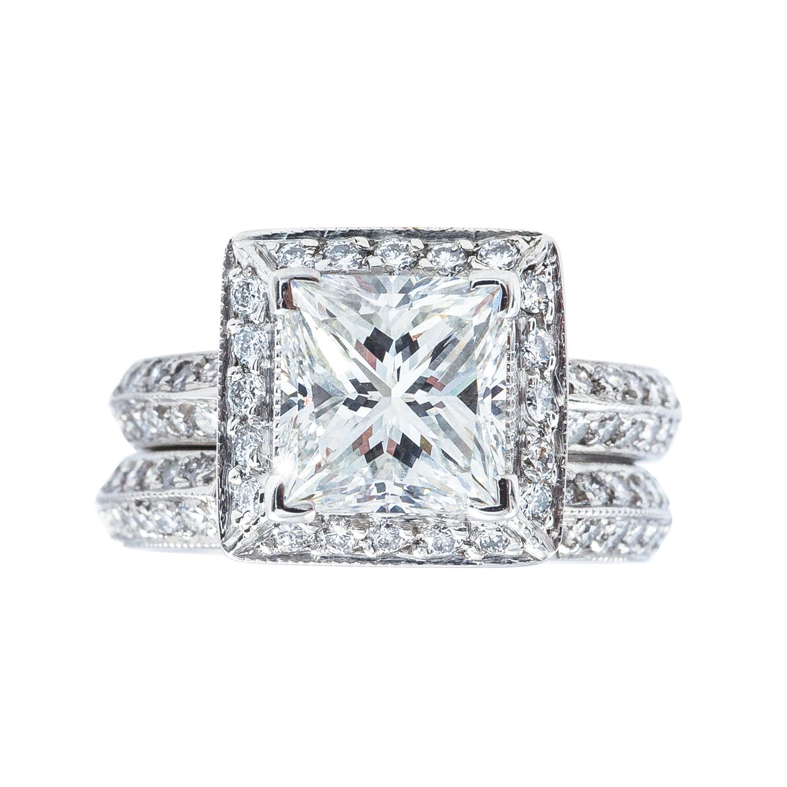 Vintage 2.76 CTW Engagement Ring & Wedding Band Set