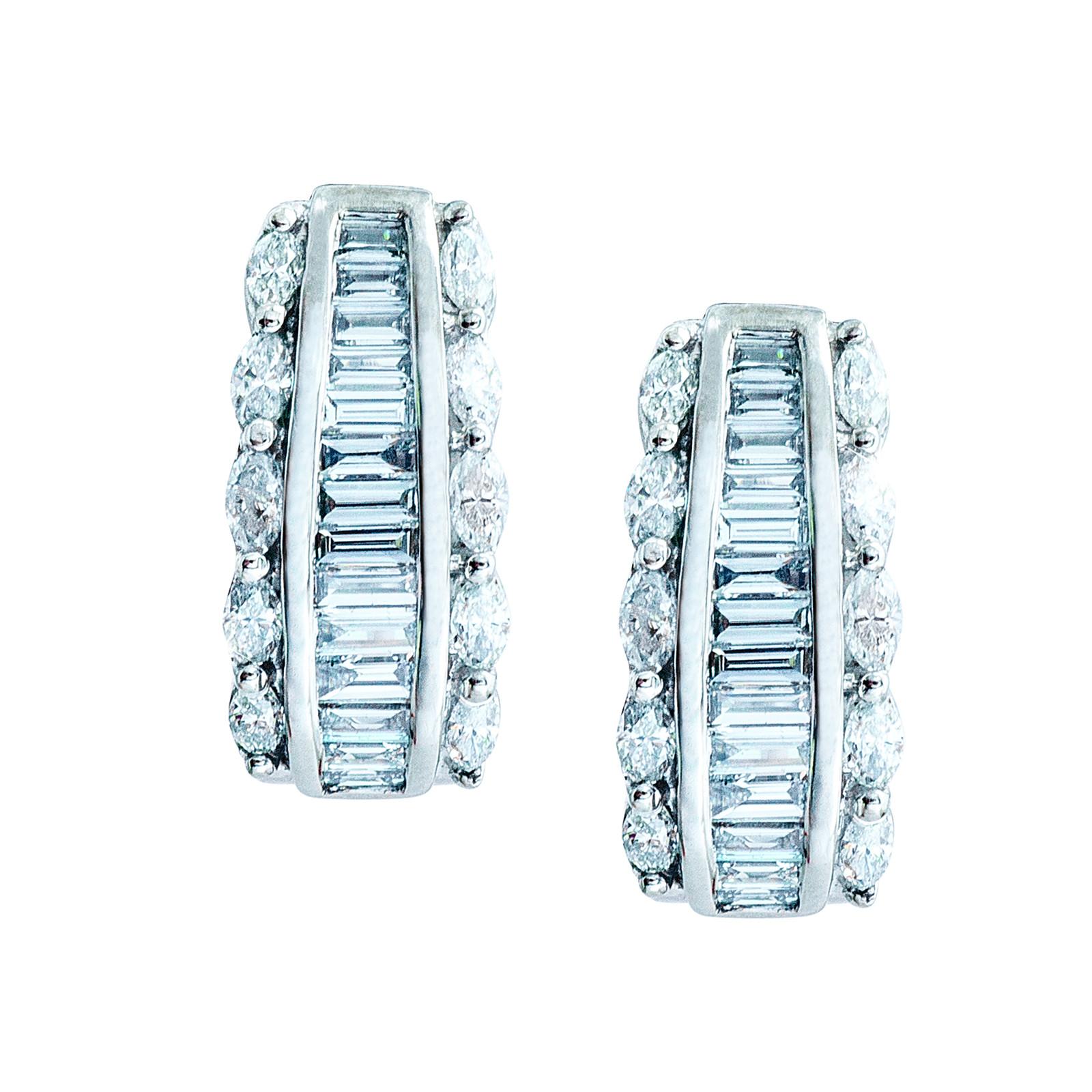 Vintage 1.20 CTW Diamond Hoop Earrings