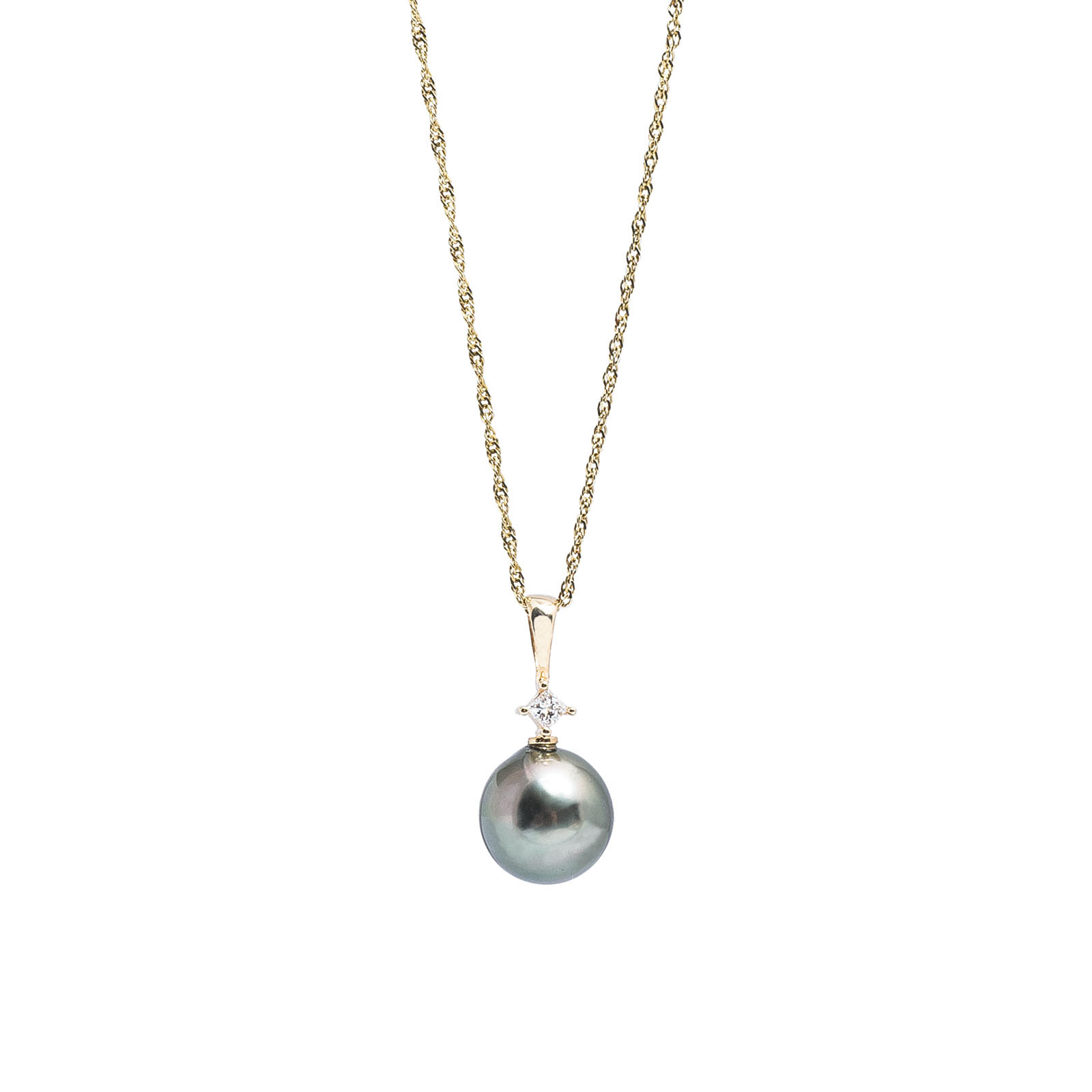 Vintage Diamond & Tahitian Pearl Necklace