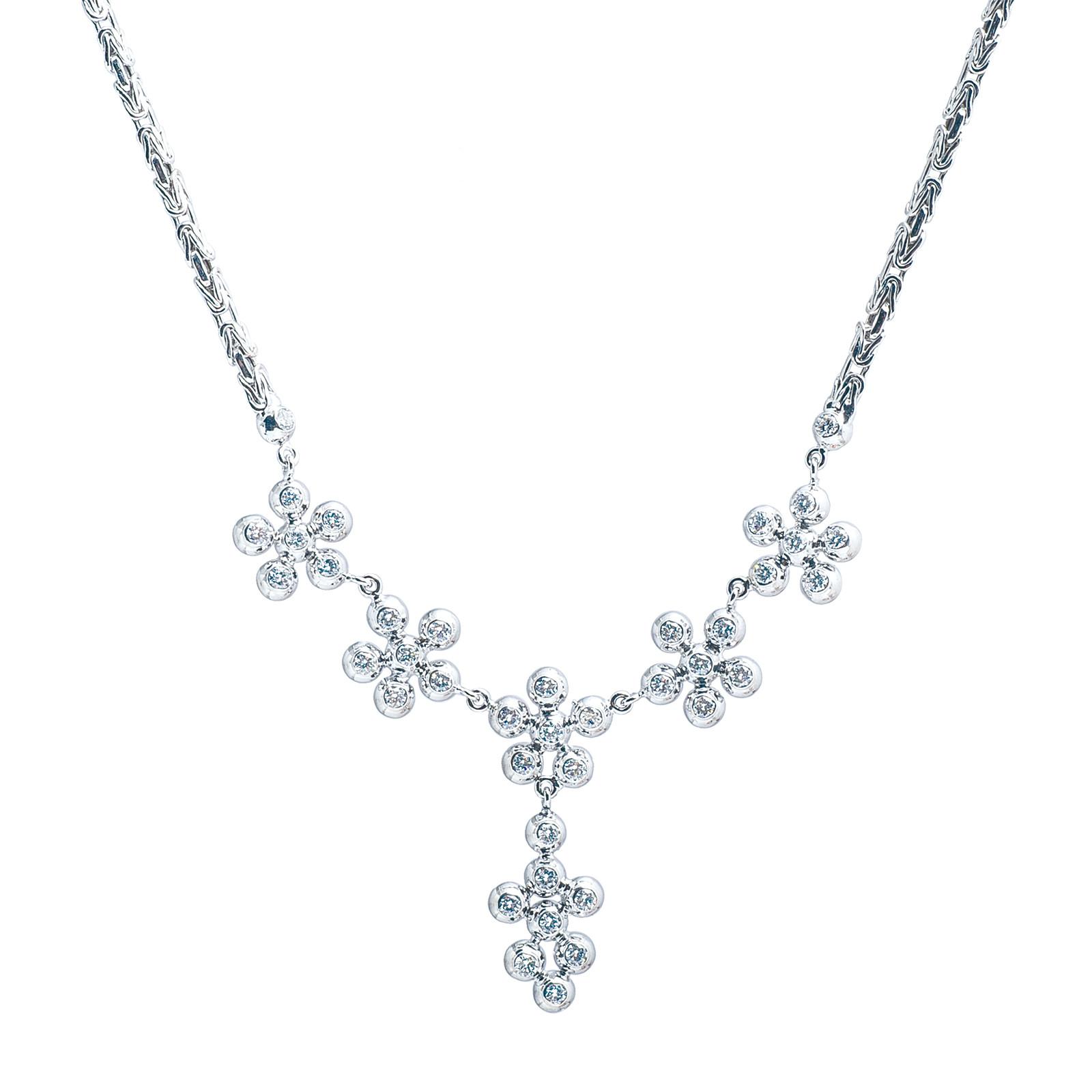 Vintage 1.20 CTW Diamond Daisy Y Necklace