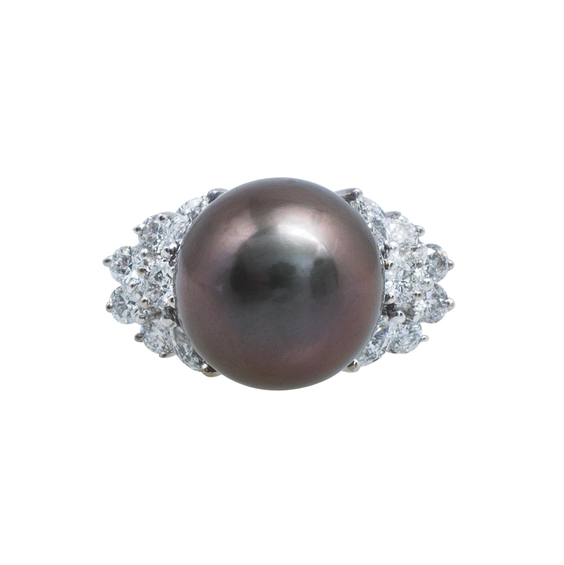 Vintage Tahitian Cultured Pearl & 0.66 CTW Diamond Ring