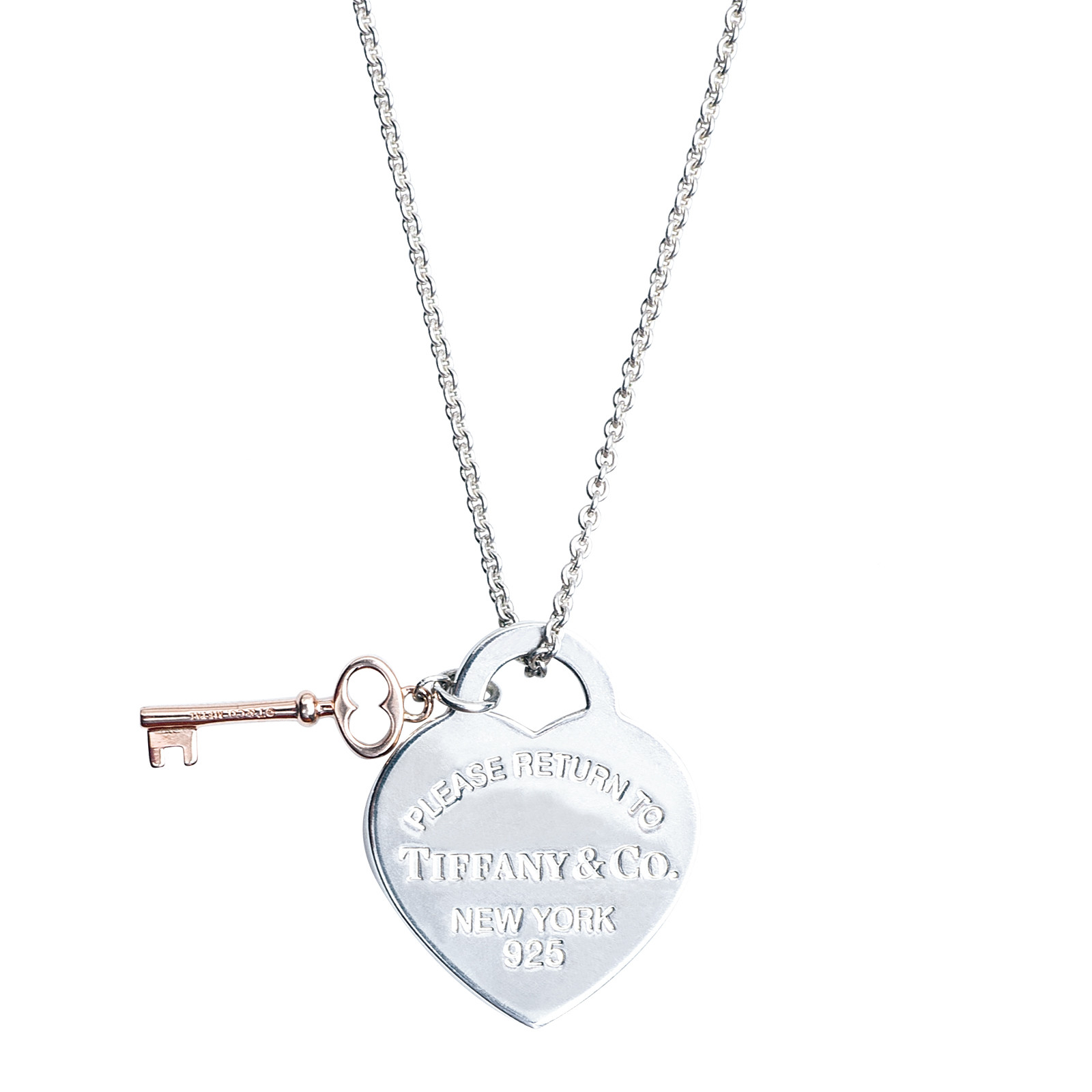 Vintage Tiffany & Co. Please Return to Tiffany Heart Key Tag Necklace