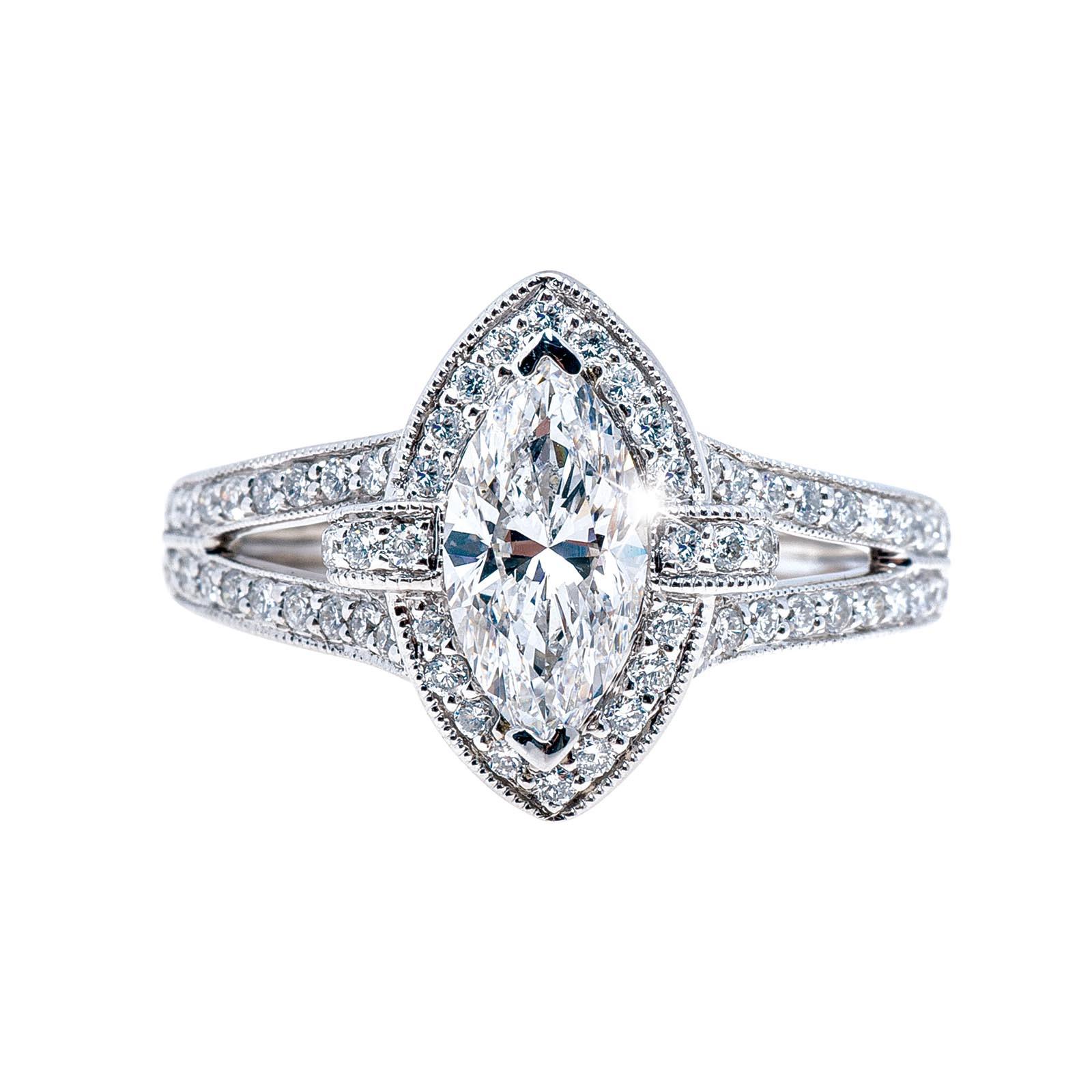 New Venetti 1.51 CTW Diamond Halo Engagement Ring