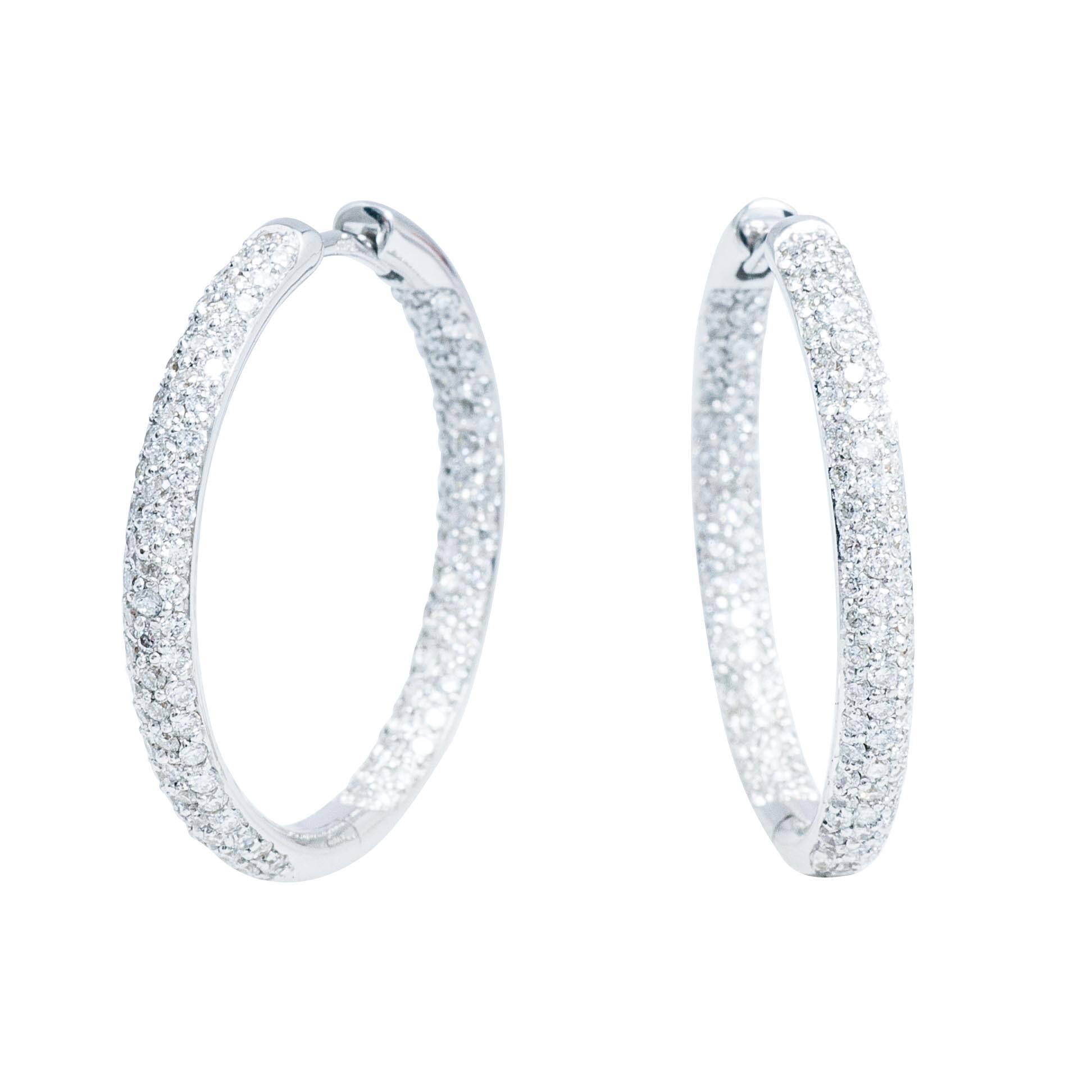 Vintage 1.20 CTW Pavé Diamond Inside-Out Hoop Earrings