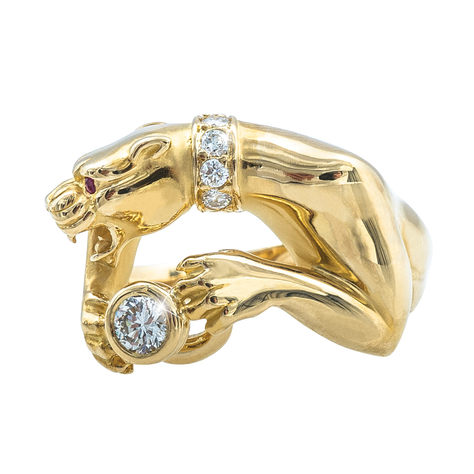 Vintage 0.35 CT Diamond Carrera Y Carrera Ruby Eyes Panther Ring