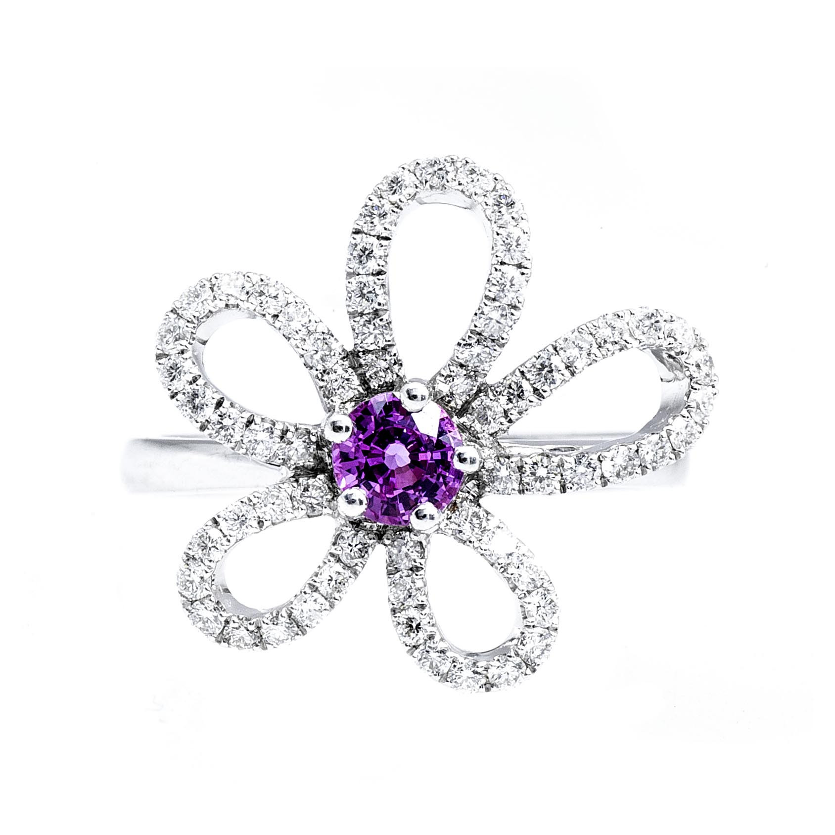 New Mémoire® 0.80 CTW Sapphire & Diamond Jasmine Collection Flower Ring