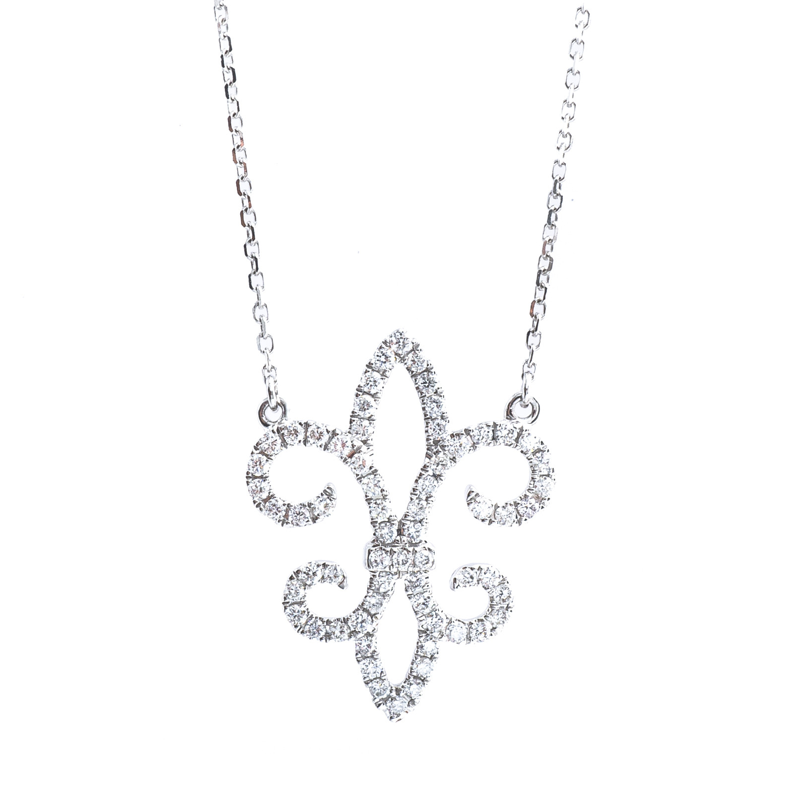 New Venetti 0.32 CTW Diamond Fleur De Lis Necklace