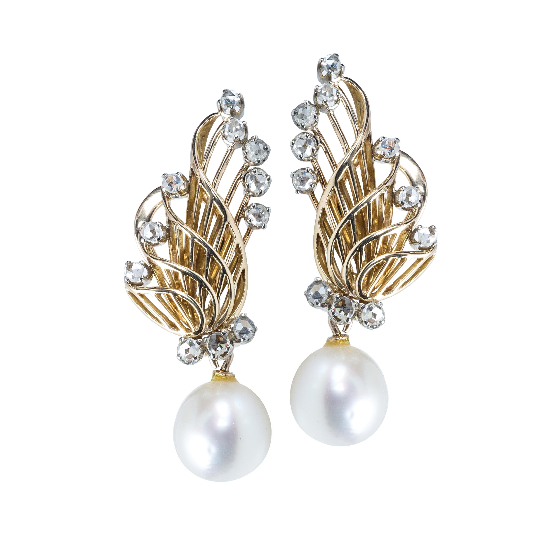 Vintage Cultured Pearl & 0.40 CTW Diamond Earrings