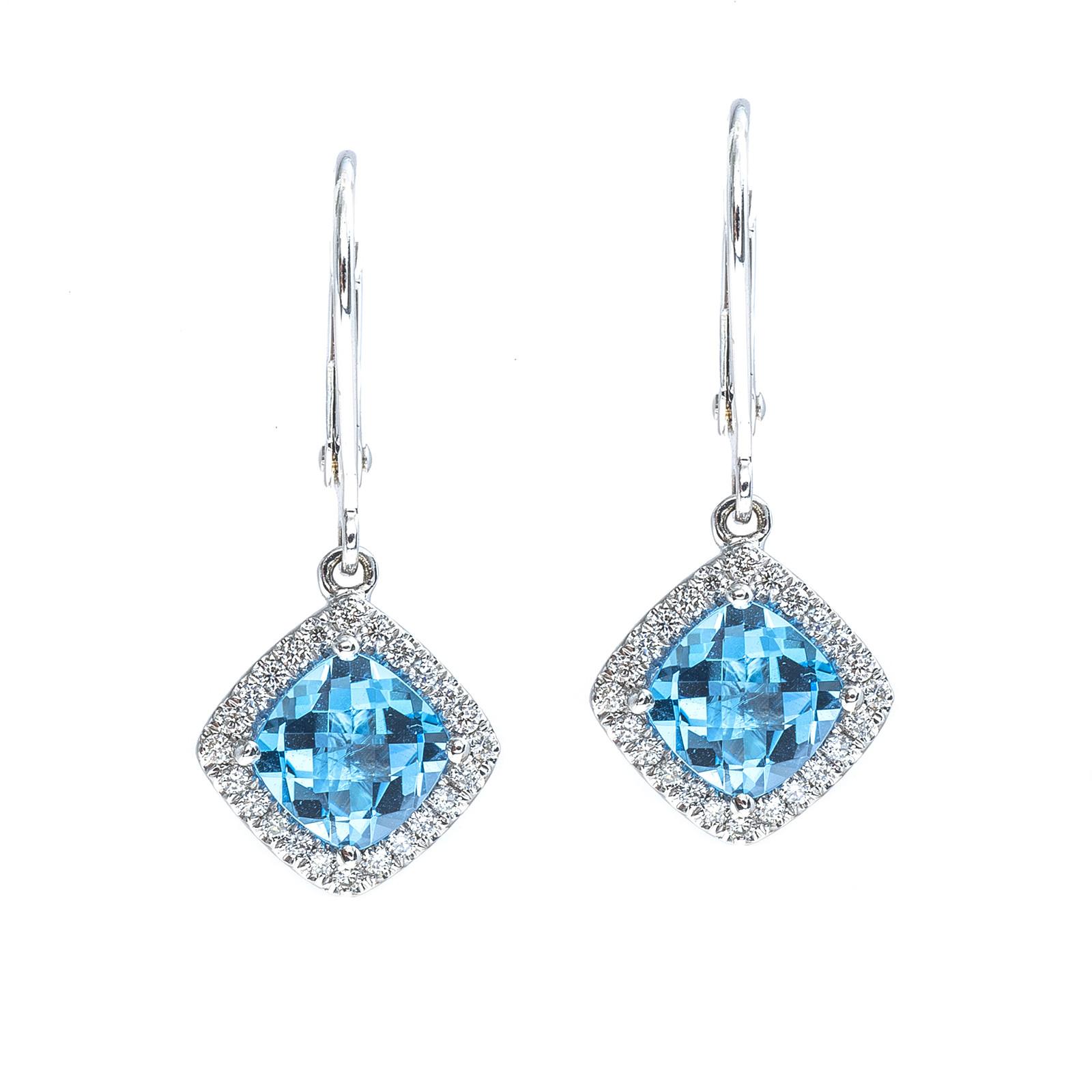 New 2.41 CTW Blue Topaz & Diamond Halo Drop Earrings