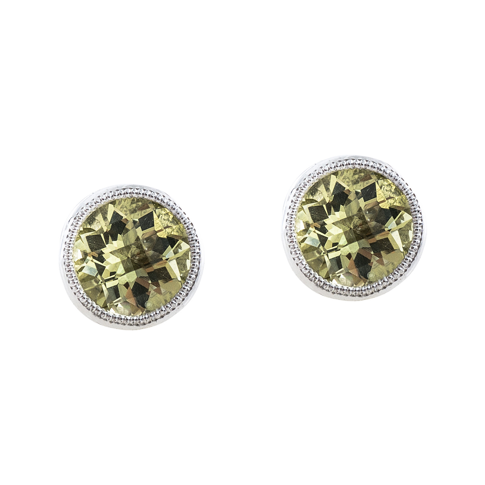 New 1.66 CTW Lemon Quartz Stud Earrings