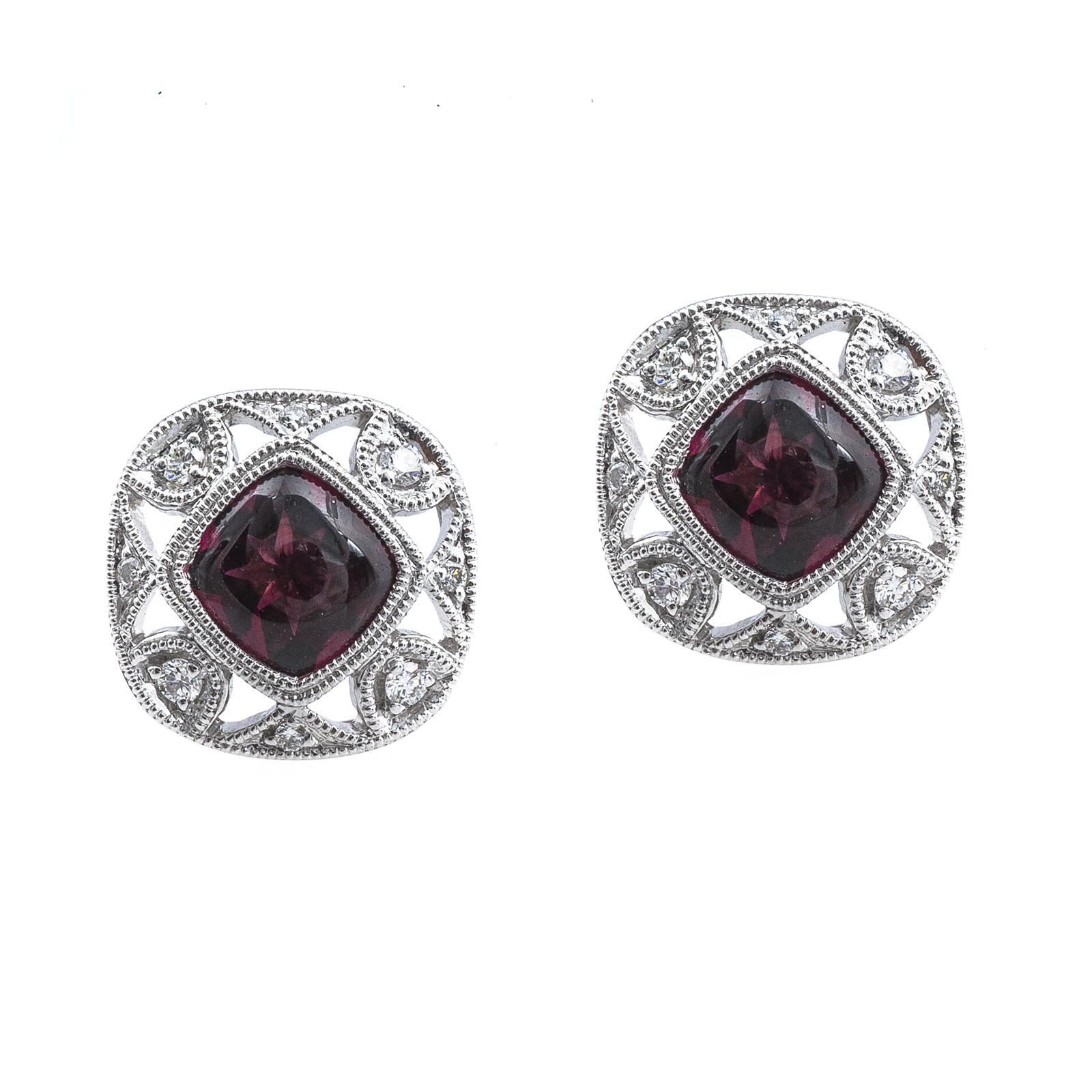 New 2.58 CTW Rhodolite Garnet & Diamond Stud Earrings