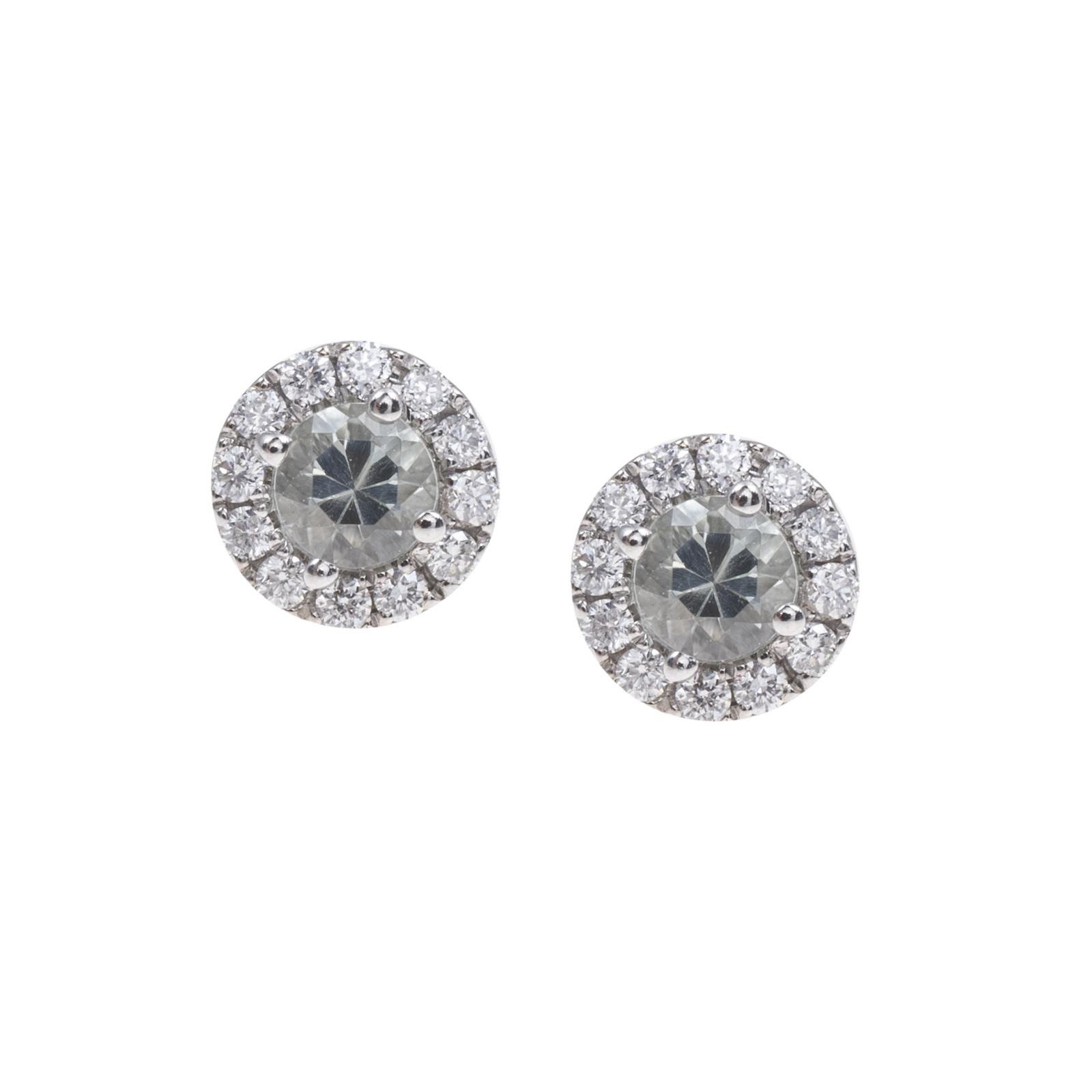New 0.49 CTW Green Quartz & Diamond Stud Earrings