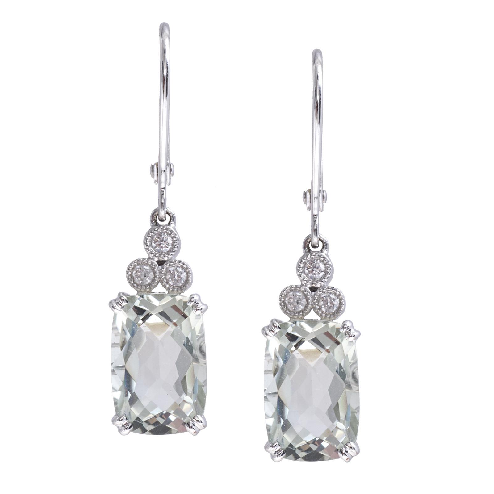 New 4.30 CTW Green Quartz & Diamond Drop Earrings