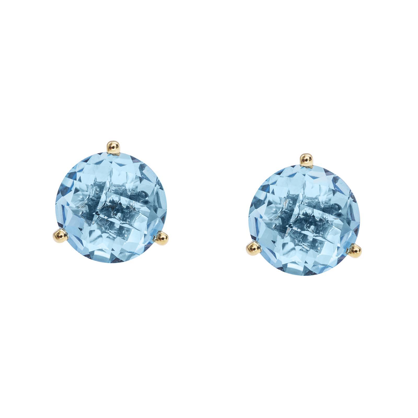 New 4.22 CTW Blue Topaz Stud Earrings