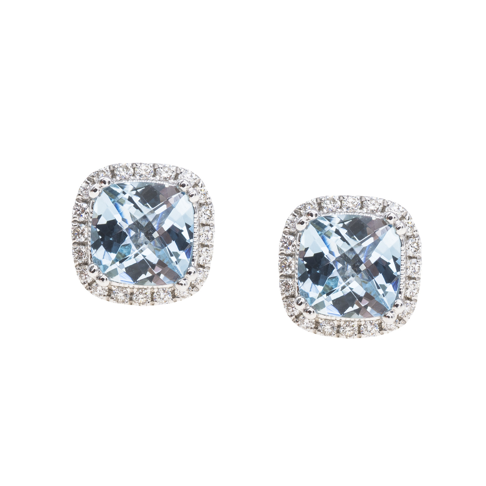 New 1.91 CTW Aquamarine & Diamond Stud Earrings