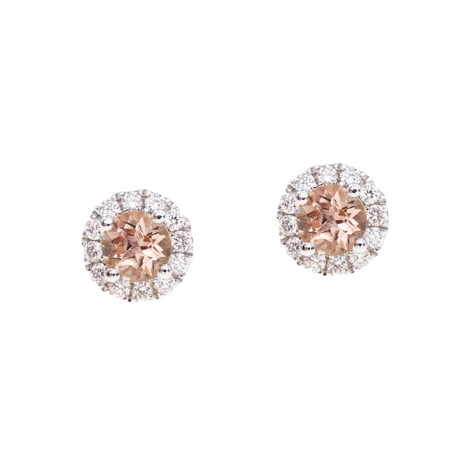 New 0.65 CTW Golden Topaz & Diamond Stud Earrings