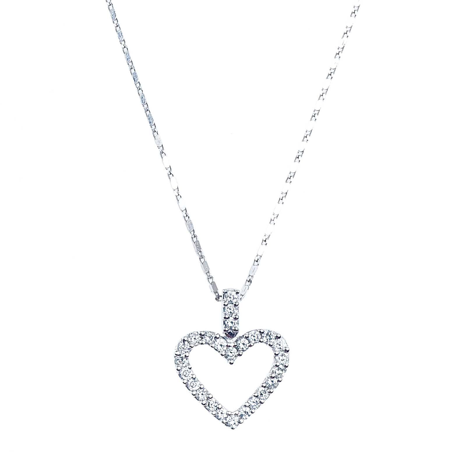 Vintage 0.27 CTW Diamond Open Heart Necklace