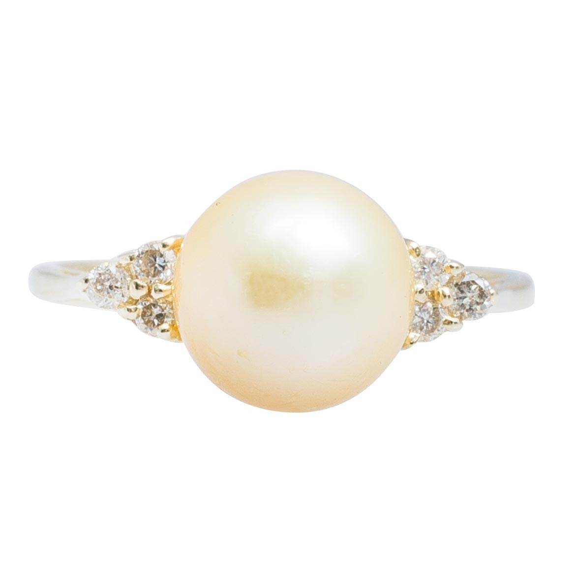 Vintage Golden Pearl & 0.06 CTW Diamond Ring