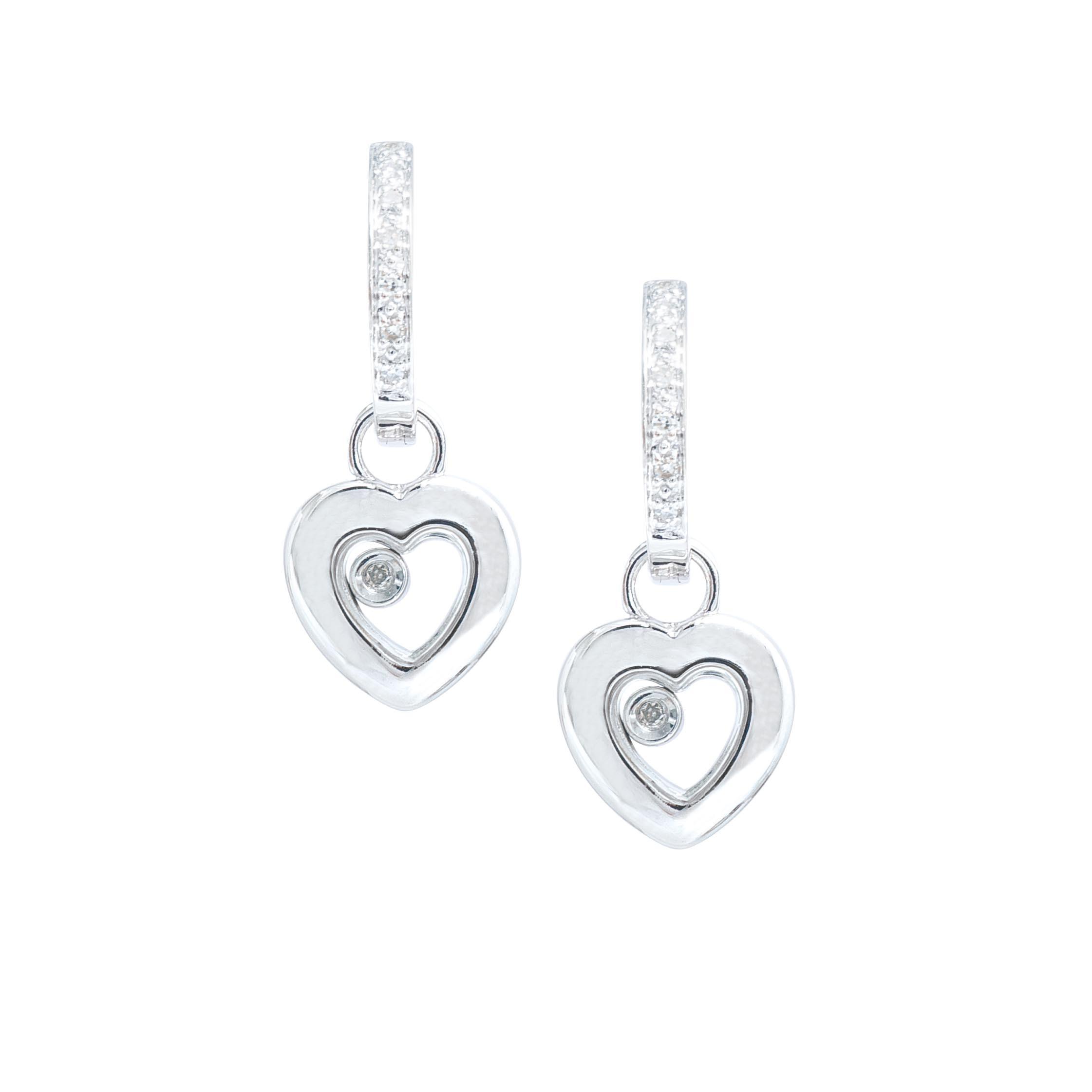 Vintage 0.08 CTW Diamond Heart Earrings