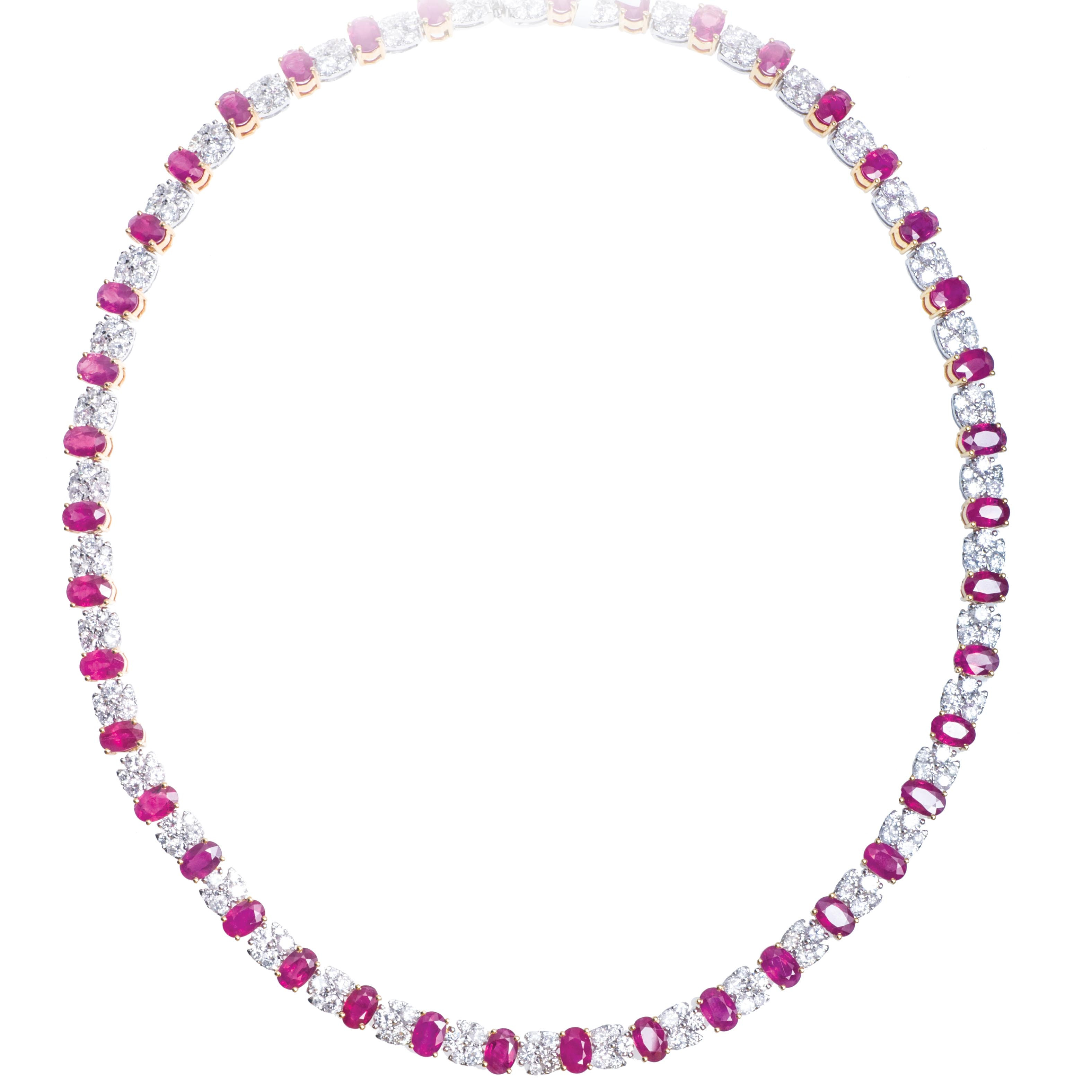 New 35.86 CTW Ruby & Diamond Tennis Necklace