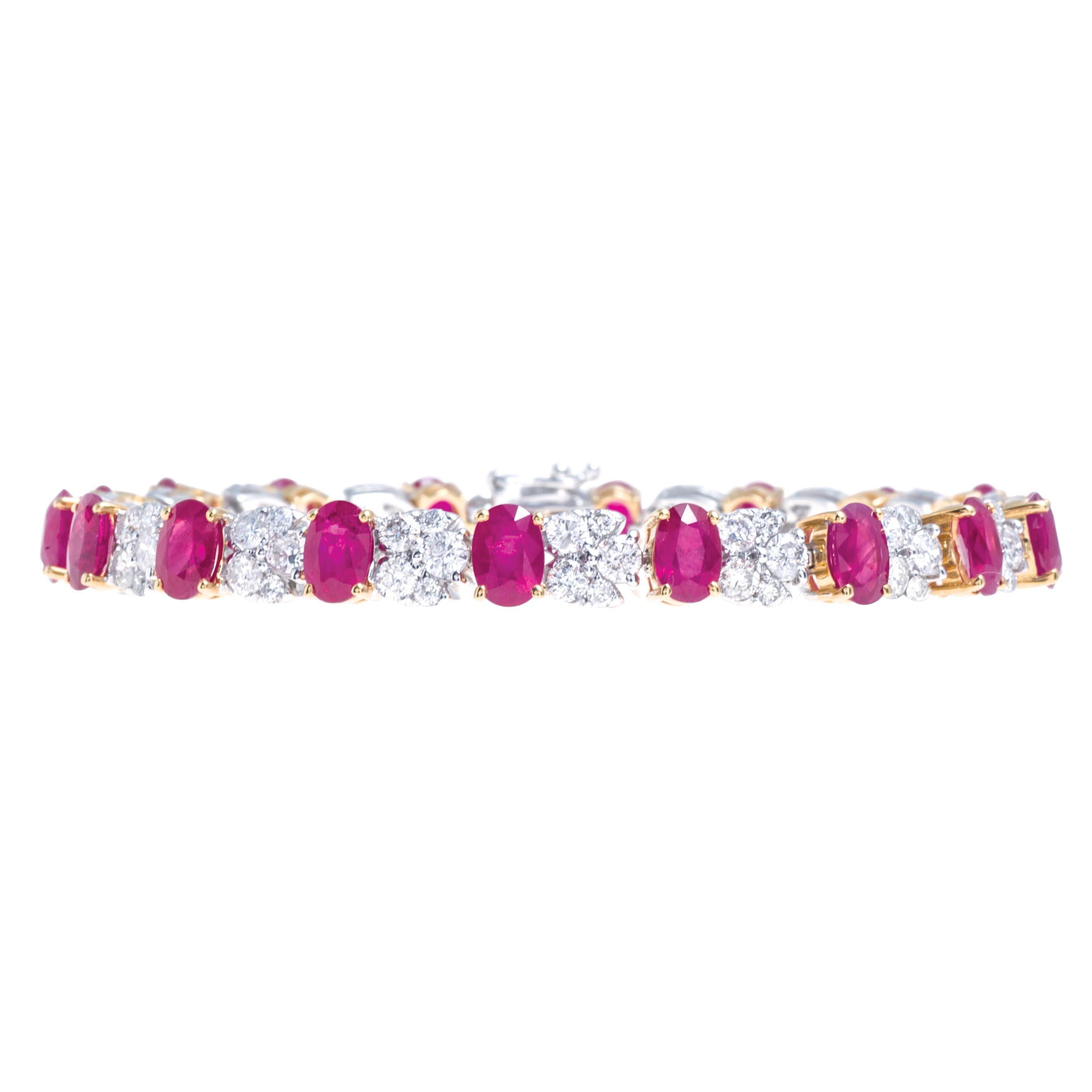 New 15.68 CTW Ruby & Diamond Tennis Bracelet