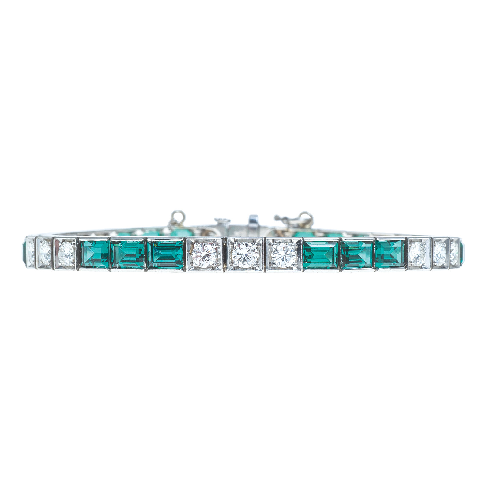 Vintage 7.35 CTW Diamond & Green Spinel Tennis Bracelet