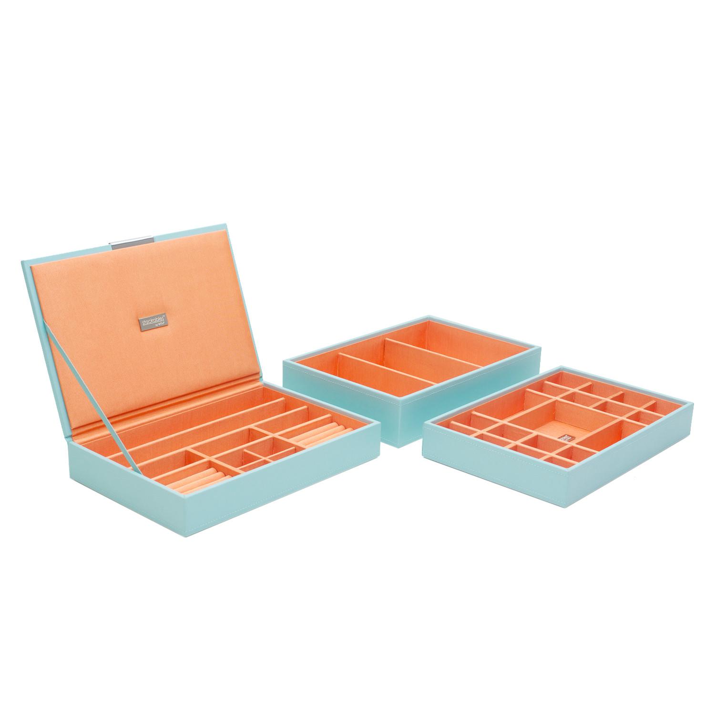 New Wolf Designs Medium Aqua Stackable Tray Set
