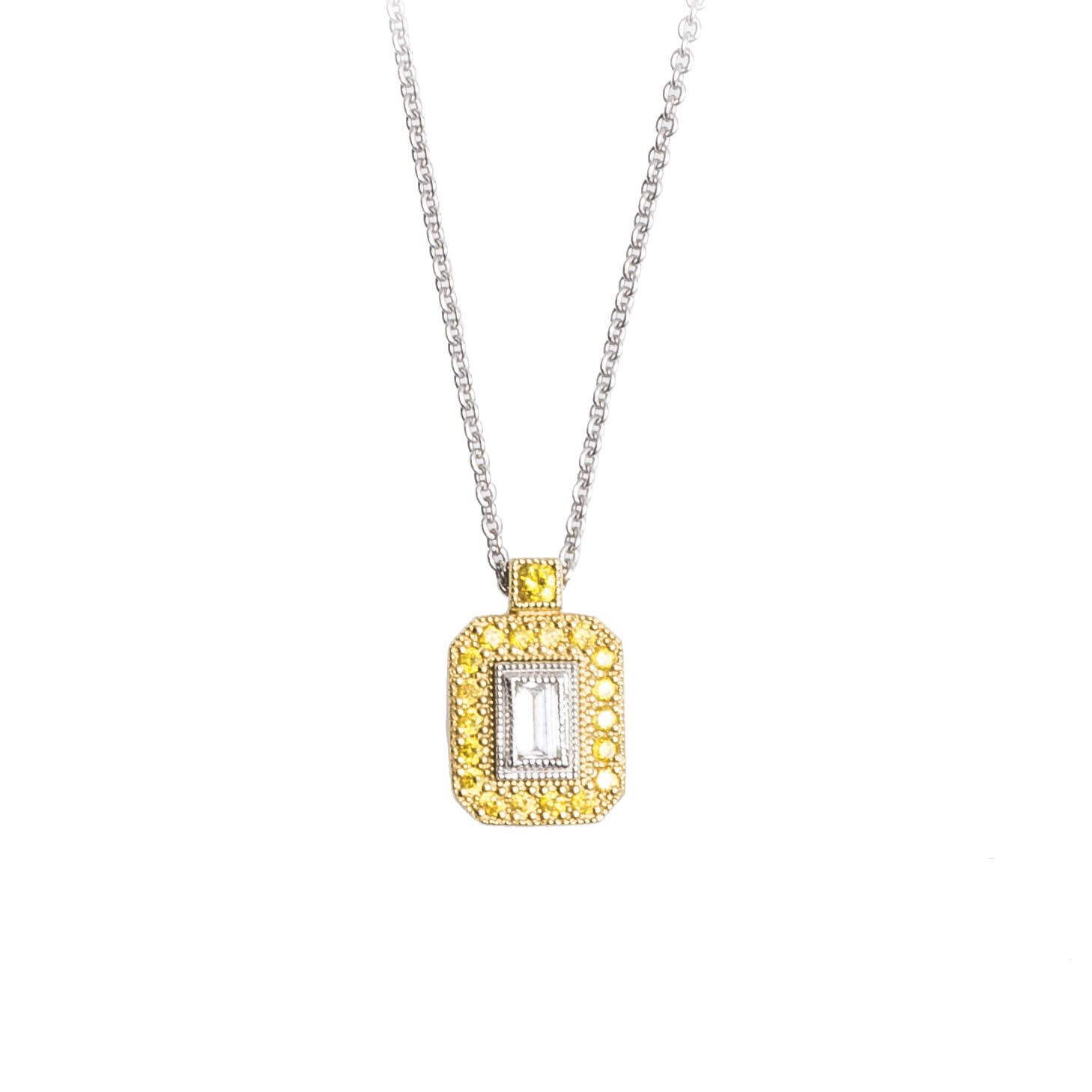 Vintage Simon G. 0.21 CTW Diamond & Yellow Sapphire Necklace