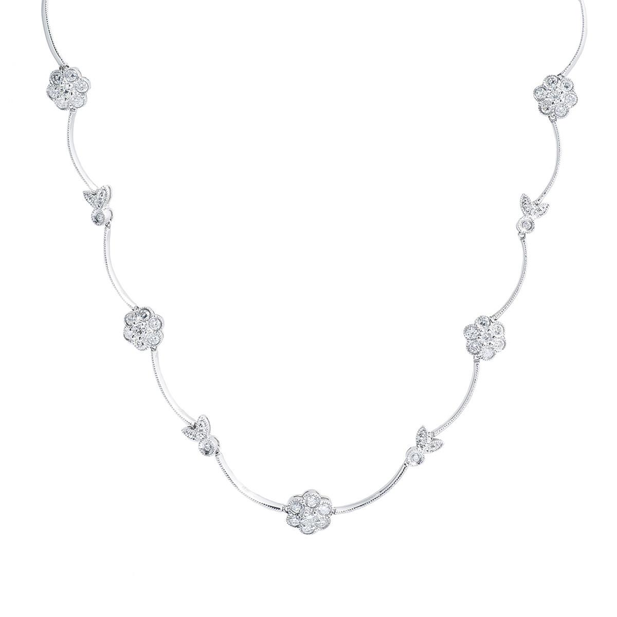 Vintage 2.10 CTW Diamond Flower Necklace