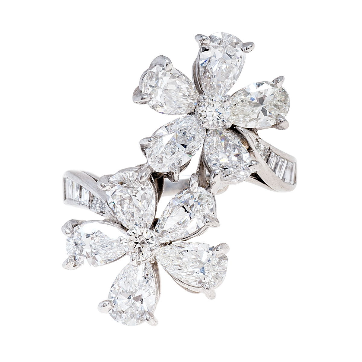 Vintage 3.90 CTW Diamond Flower Ring