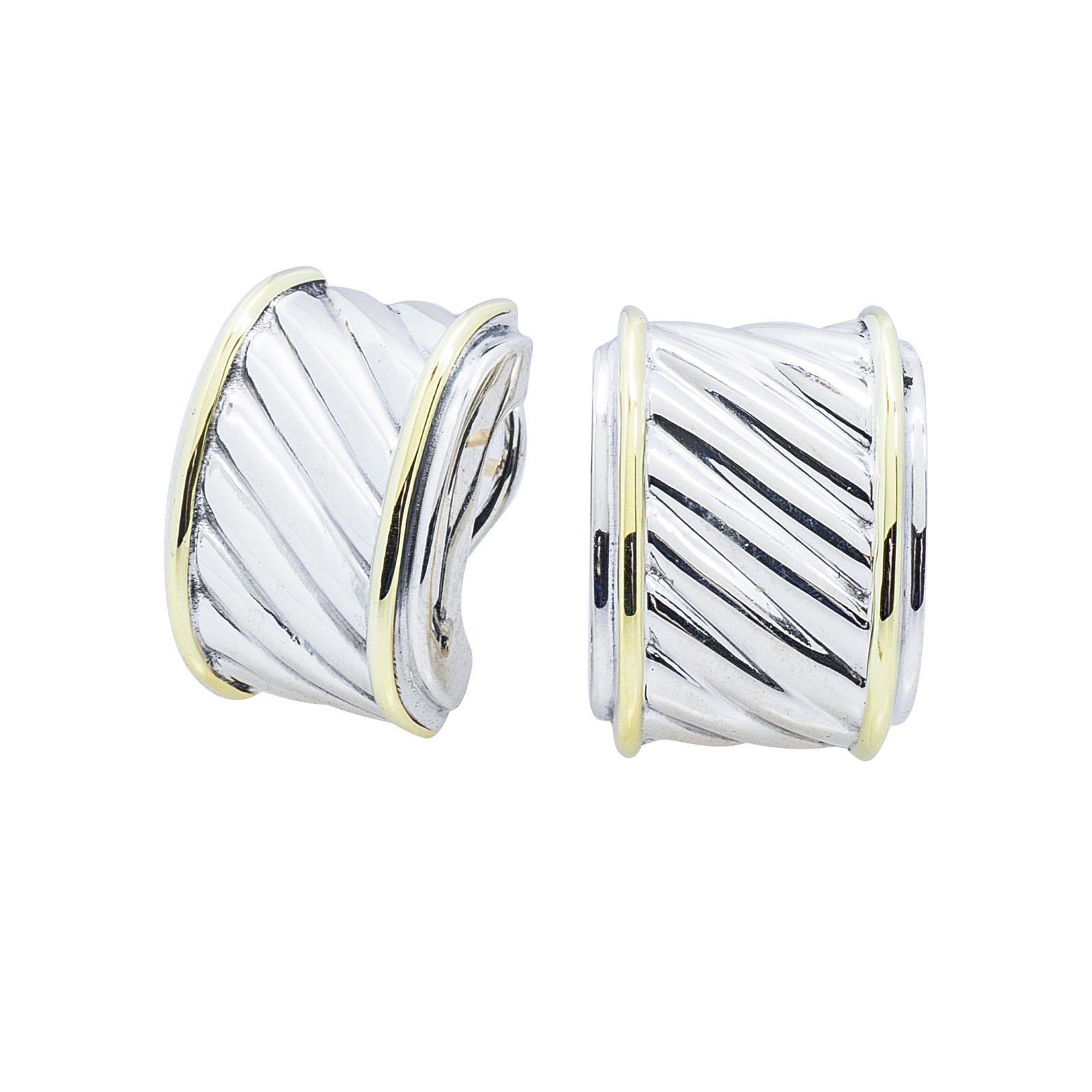 Vintage David Yurman Thoroughbred Cigar Band Earrings Gallery Image