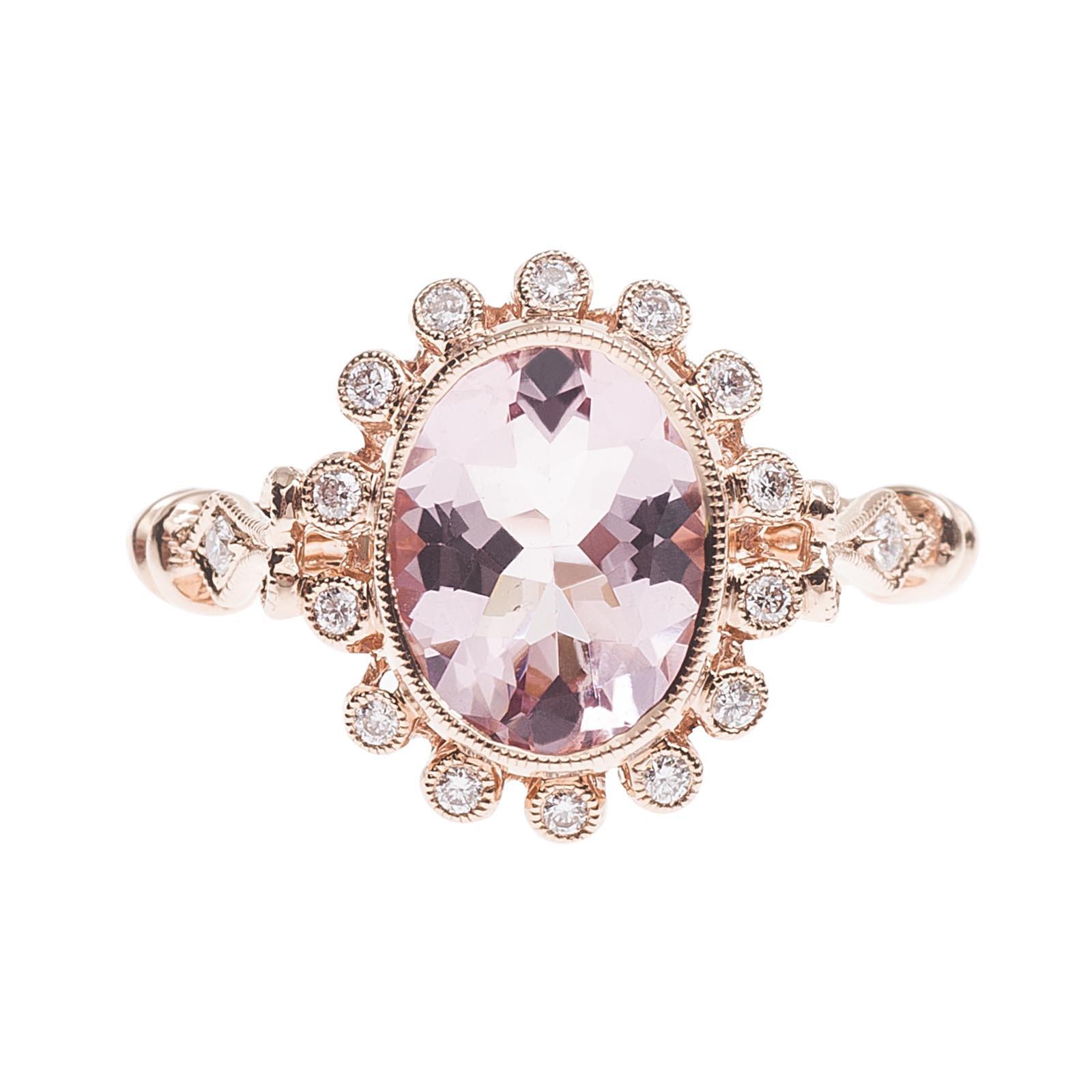 New Beverley K 1.42 Morganite & Diamond Halo Ring