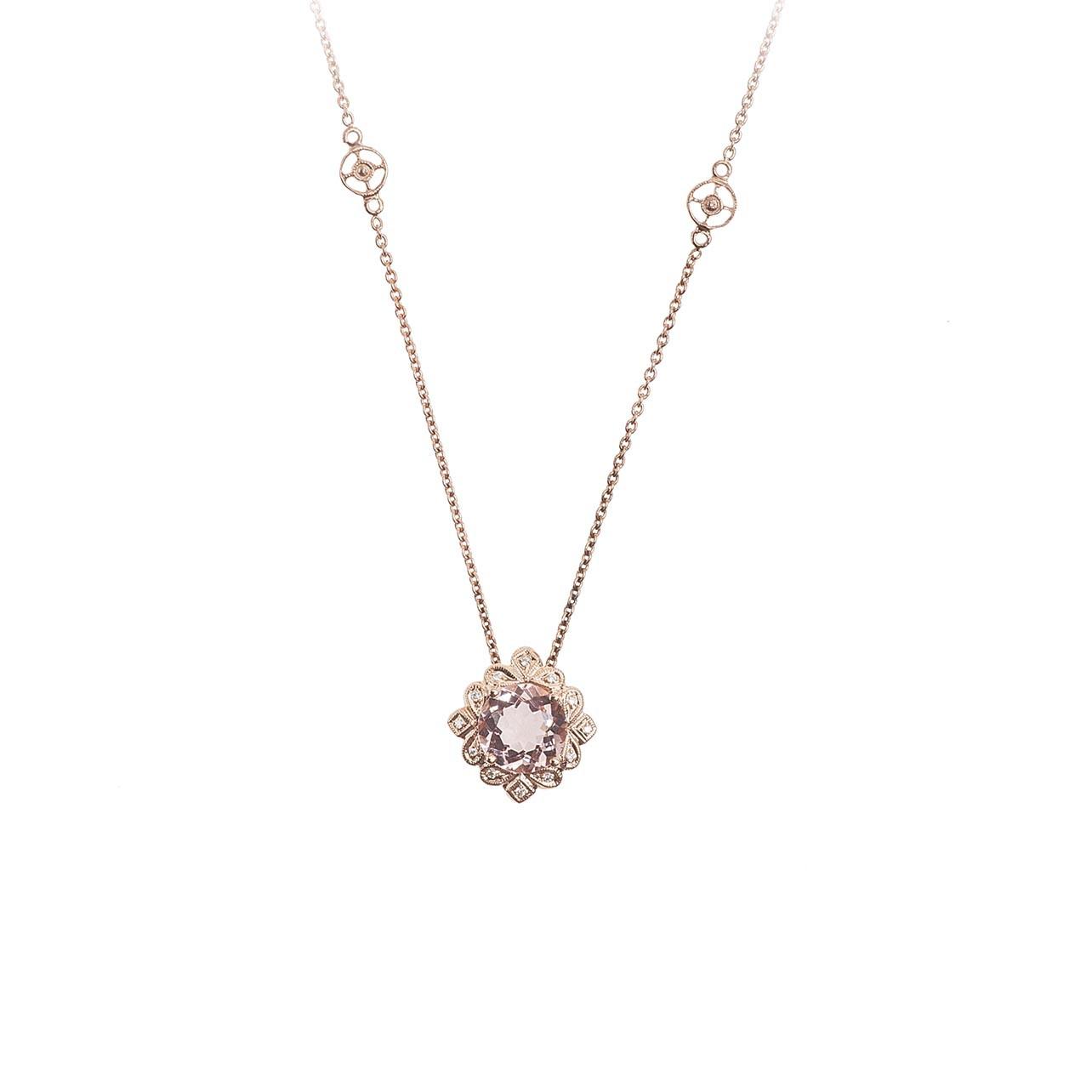 New Beverley K 1.30 CTW Morganite & Diamond Halo Necklace