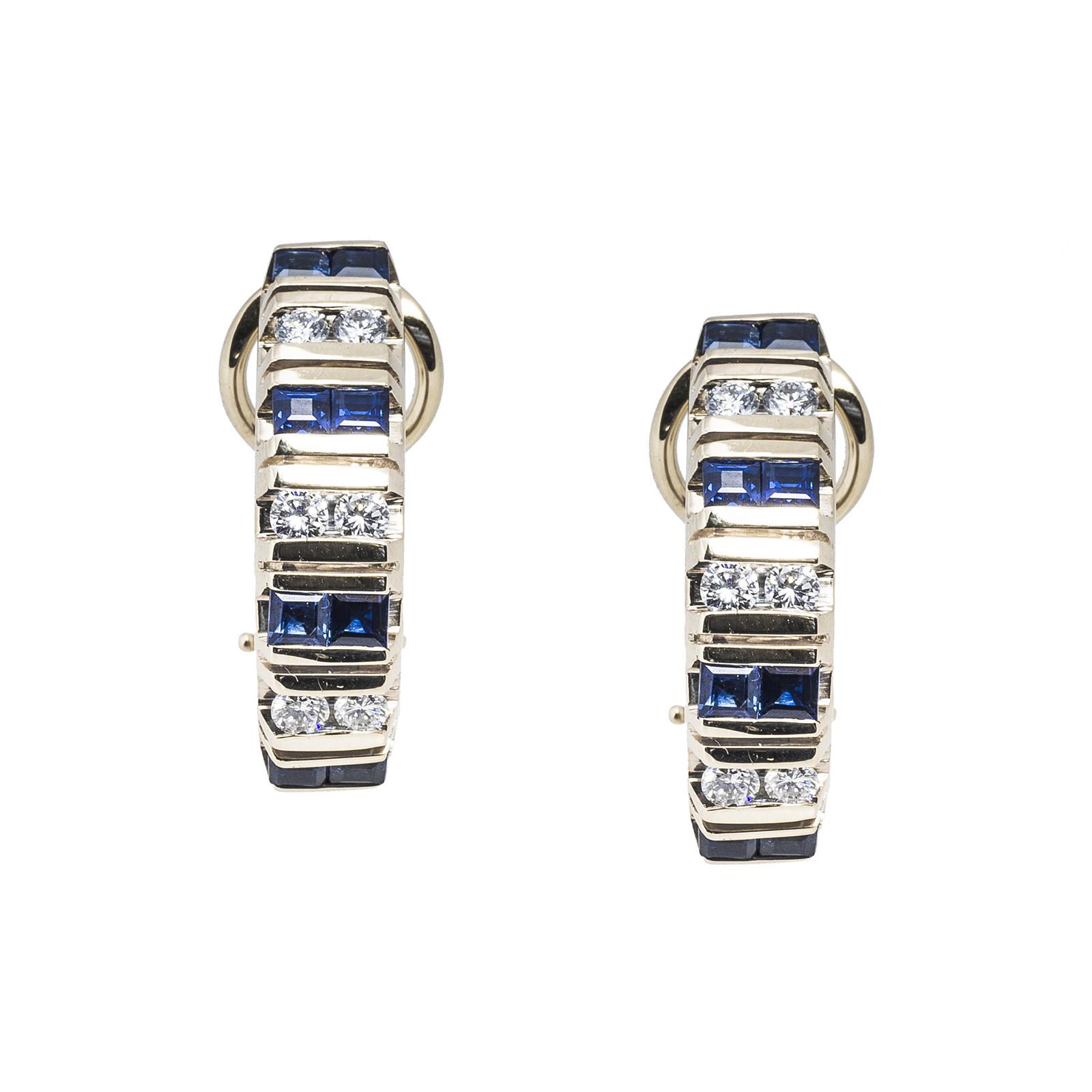 Vintage 1.85 CTW Diamond & Blue Sapphire Earrings