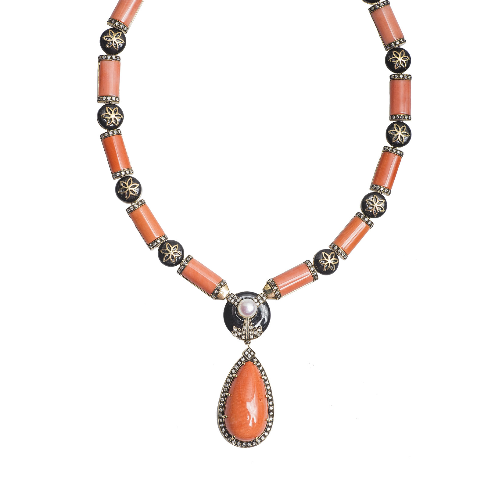 New 147.72 CTW Coral, Black Onyx, Diamond & Pearl Necklace