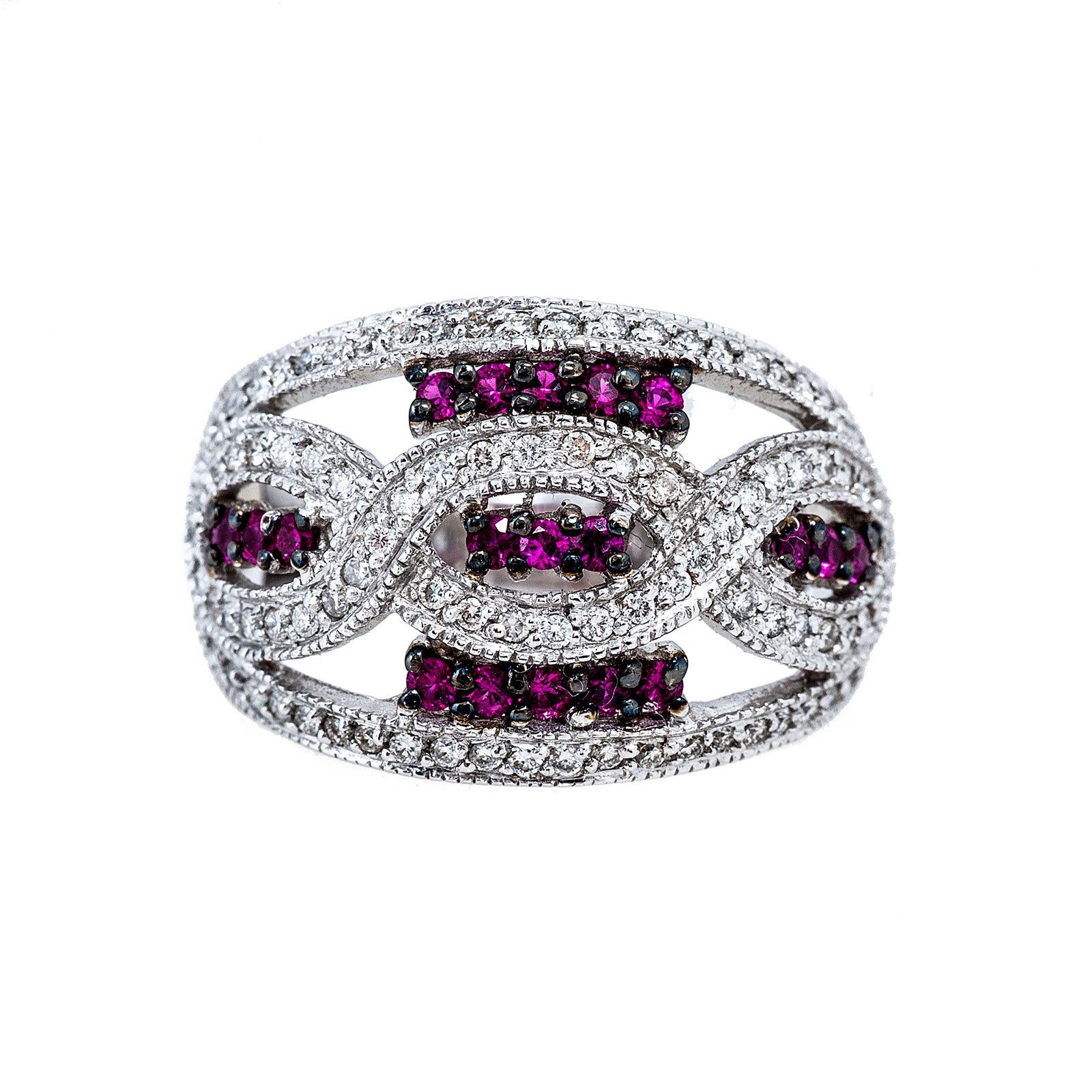 New 0.92 CTW Ruby & Diamond Intertwined Ring