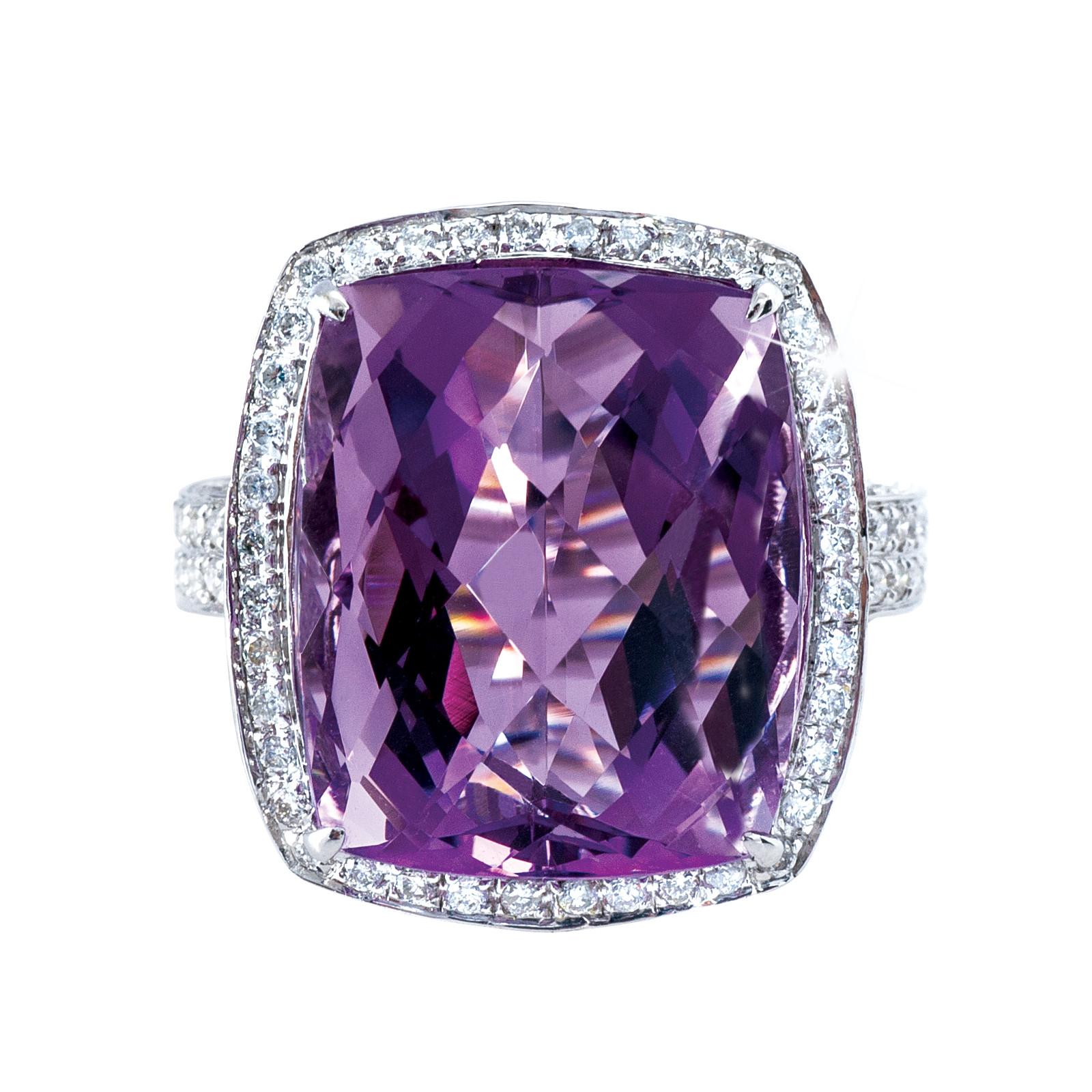 New 17.14 CTW Diamond & Amethyst Ring