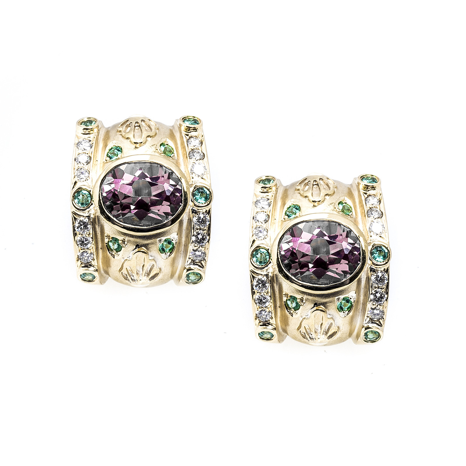 Vintage Judy Mayfield 4.80 CTW Diamond & Tourmaline Earrings