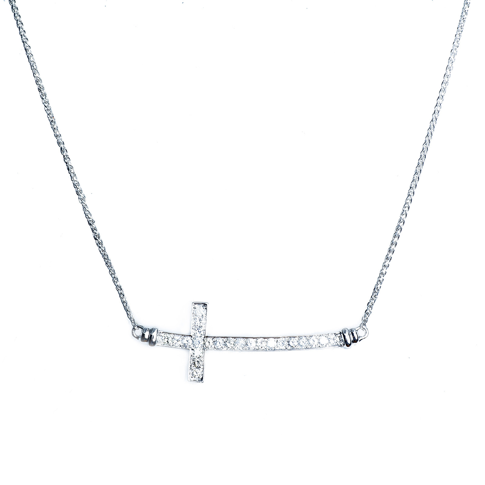 New 0.53 CTW Diamond Horizontal Cross Necklace