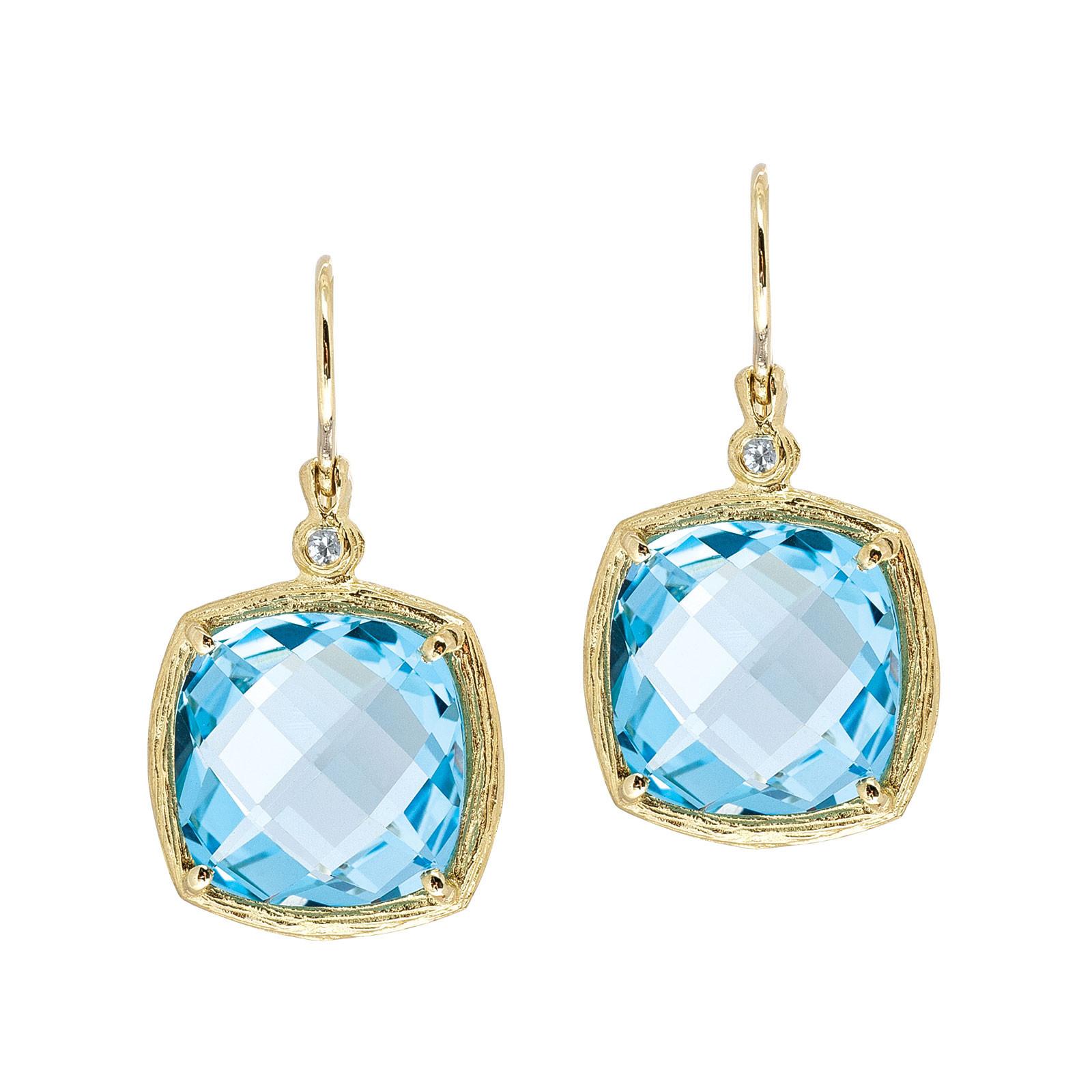 Vintage White & Blue Topaz Drop Earrings