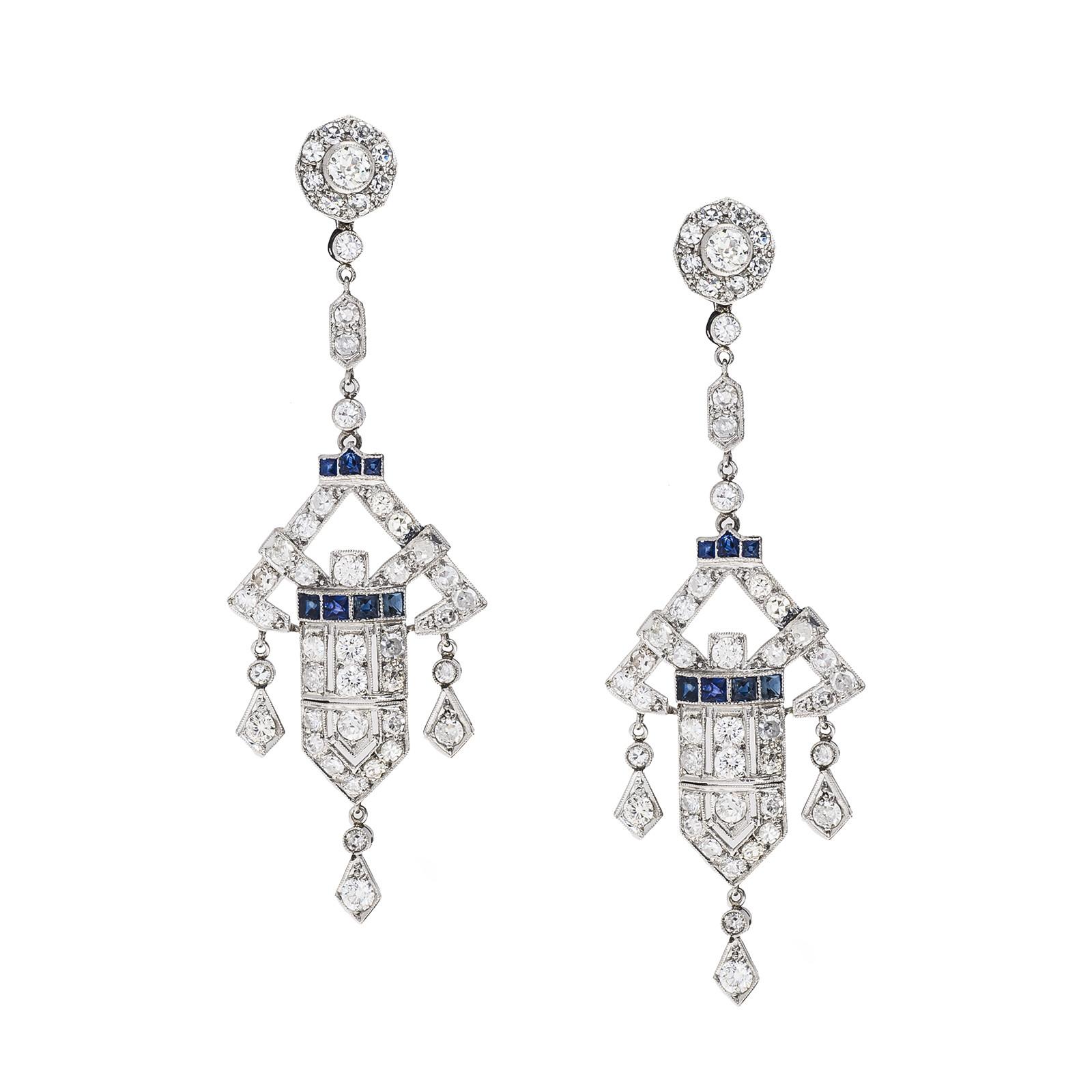 Vintage 3.64 CTW Diamond & Blue Sapphire Earrings