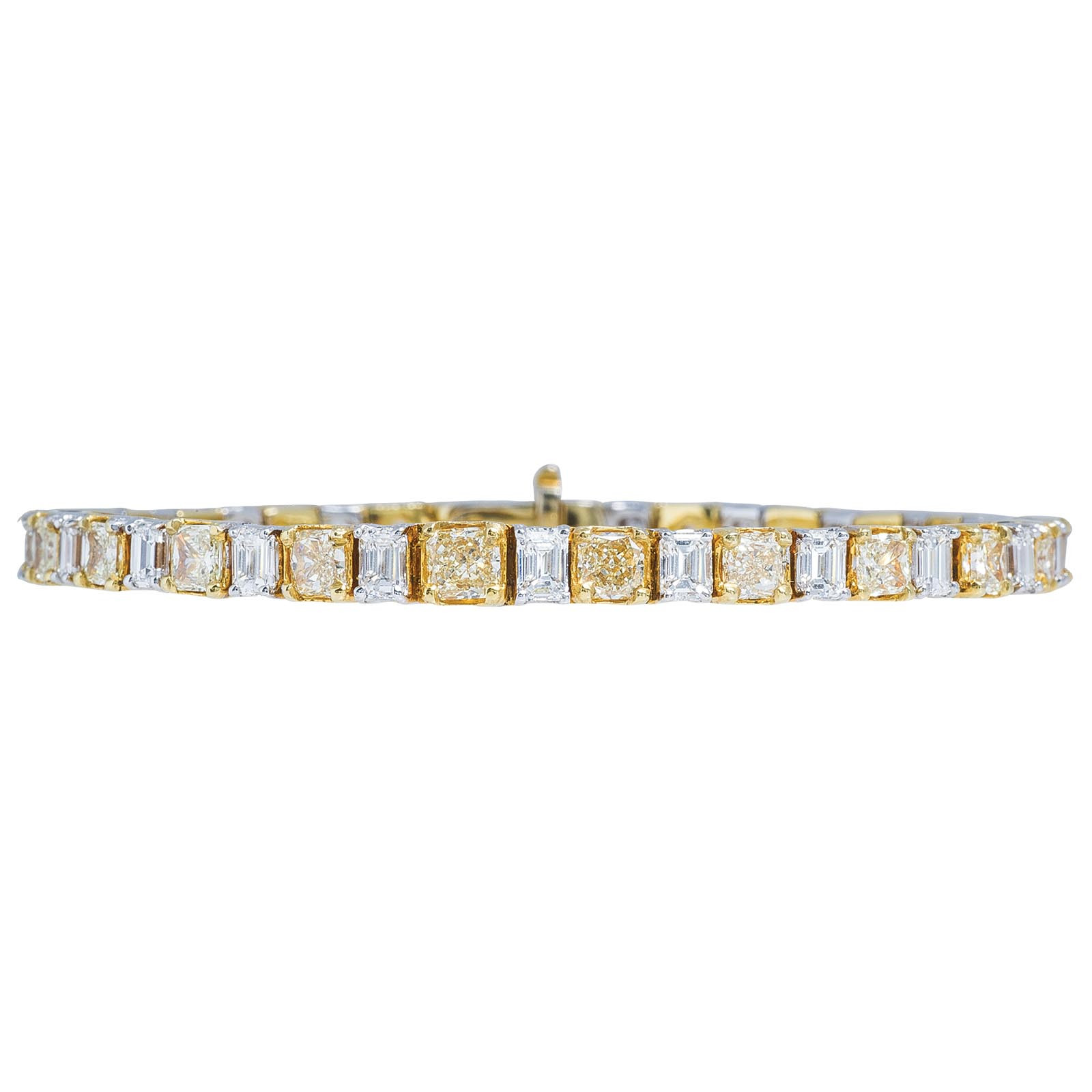 New 9.47 CTW Yellow & White Diamond Tennis Bracelet