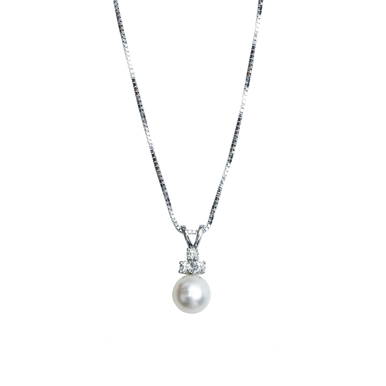 Vintage White Cultured Pearl & 0.12 CTW Diamond Necklace