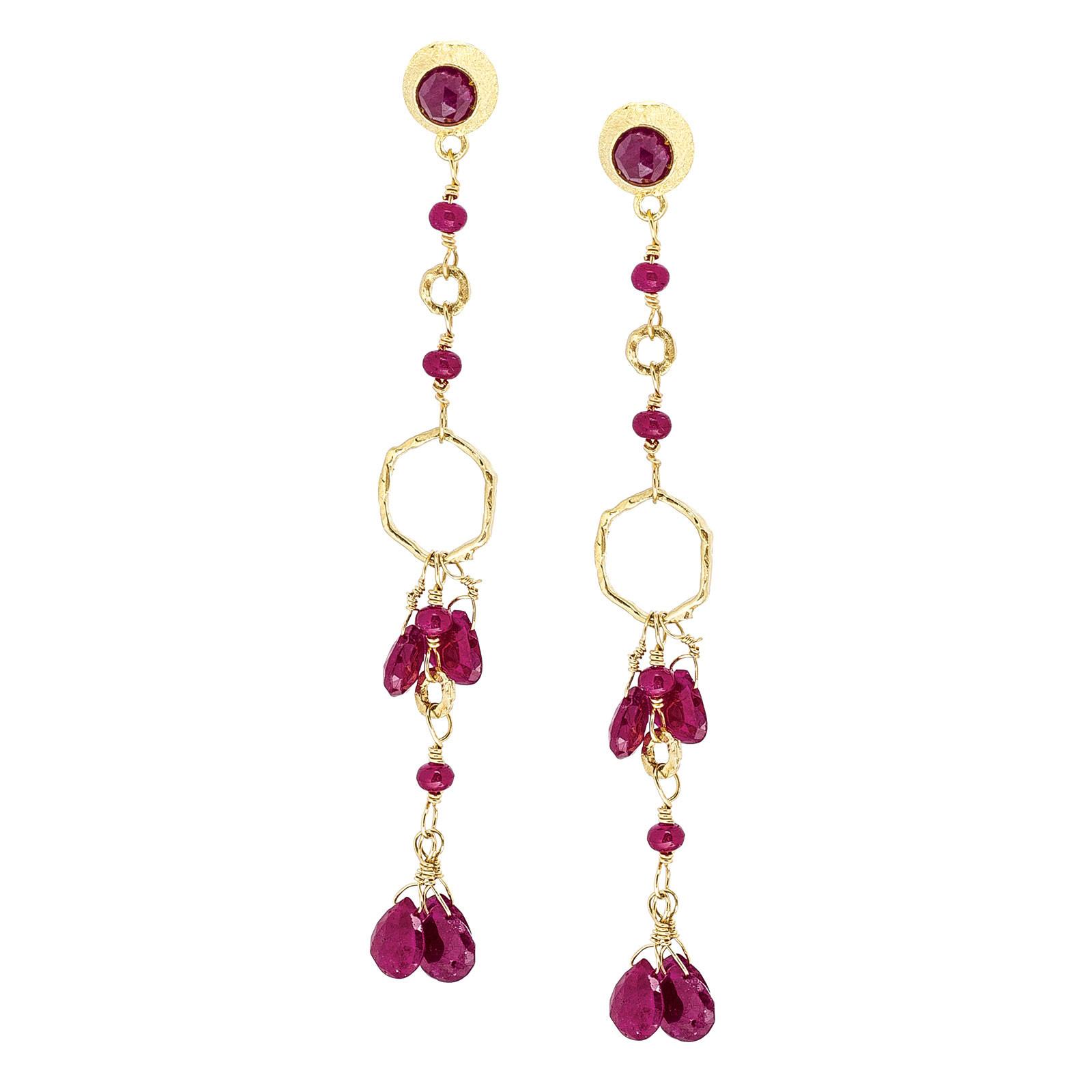 Vintage Ruby Chandelier Earrings