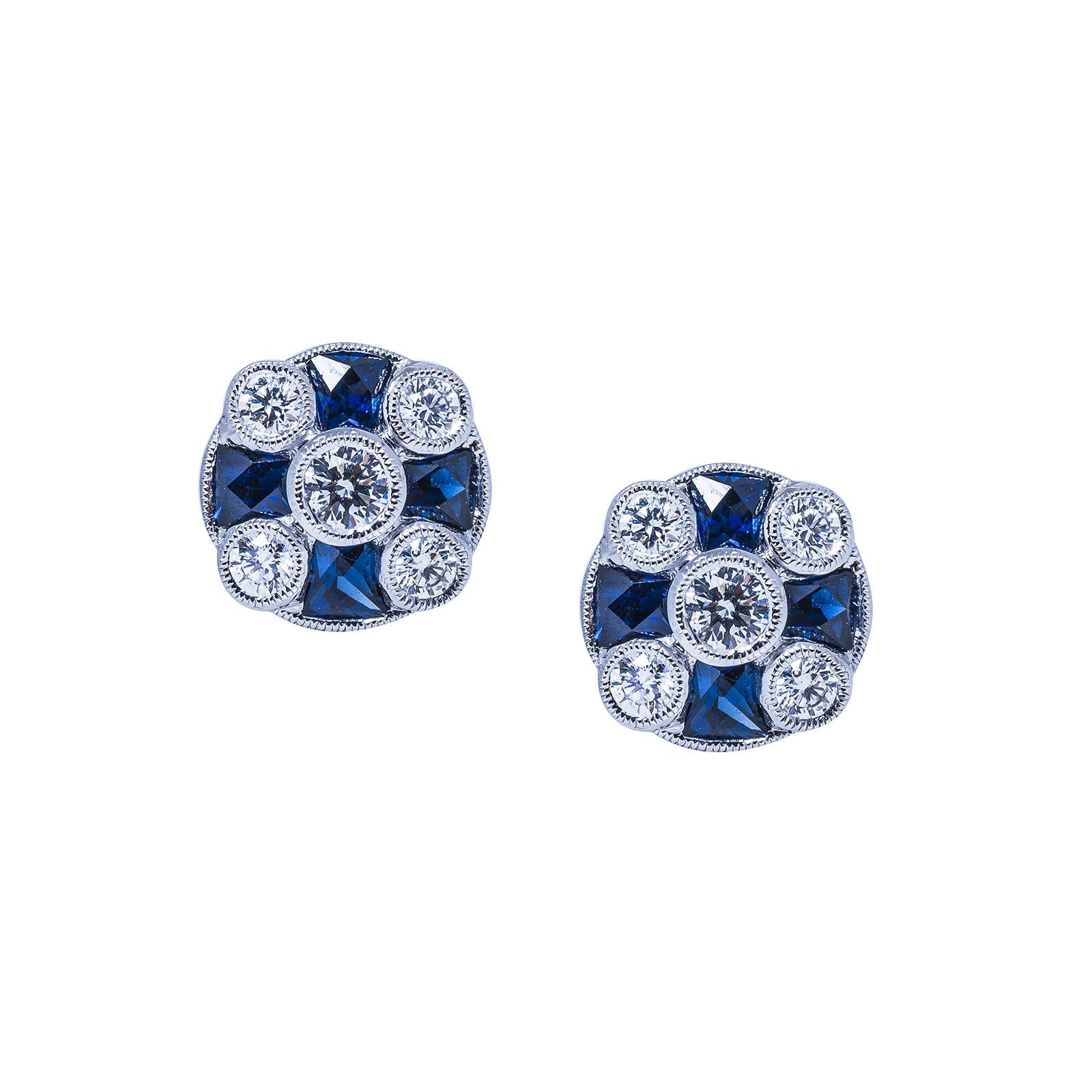New Beverley K 1.33 CTW Blue Sapphire and Diamond Earrings