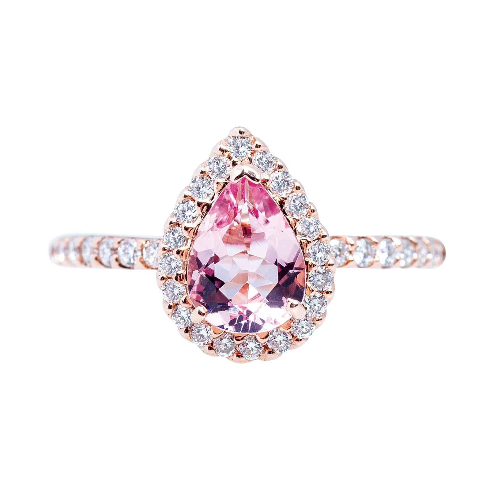 New Beverly K. 1.11 CTW Morganite & Diamond Halo Ring
