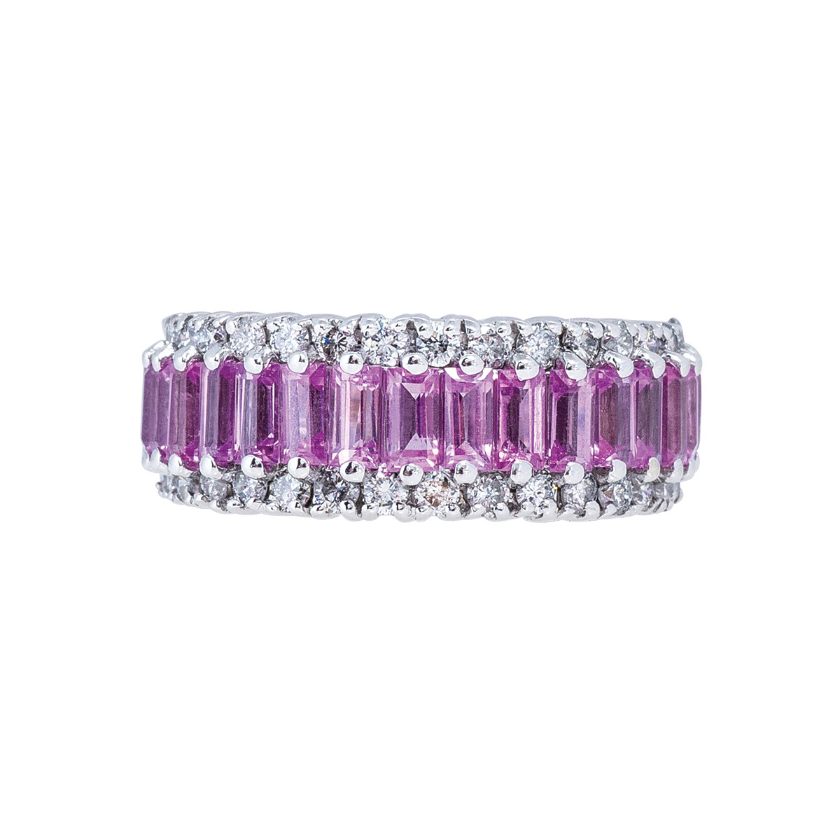 Vintage 3.53 CTW Diamond & Pink Sapphire Band