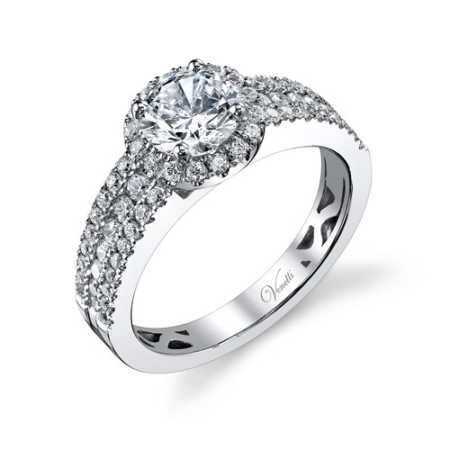 New Venetii 0.70 CTW Diamond Halo Engagement Ring Setting