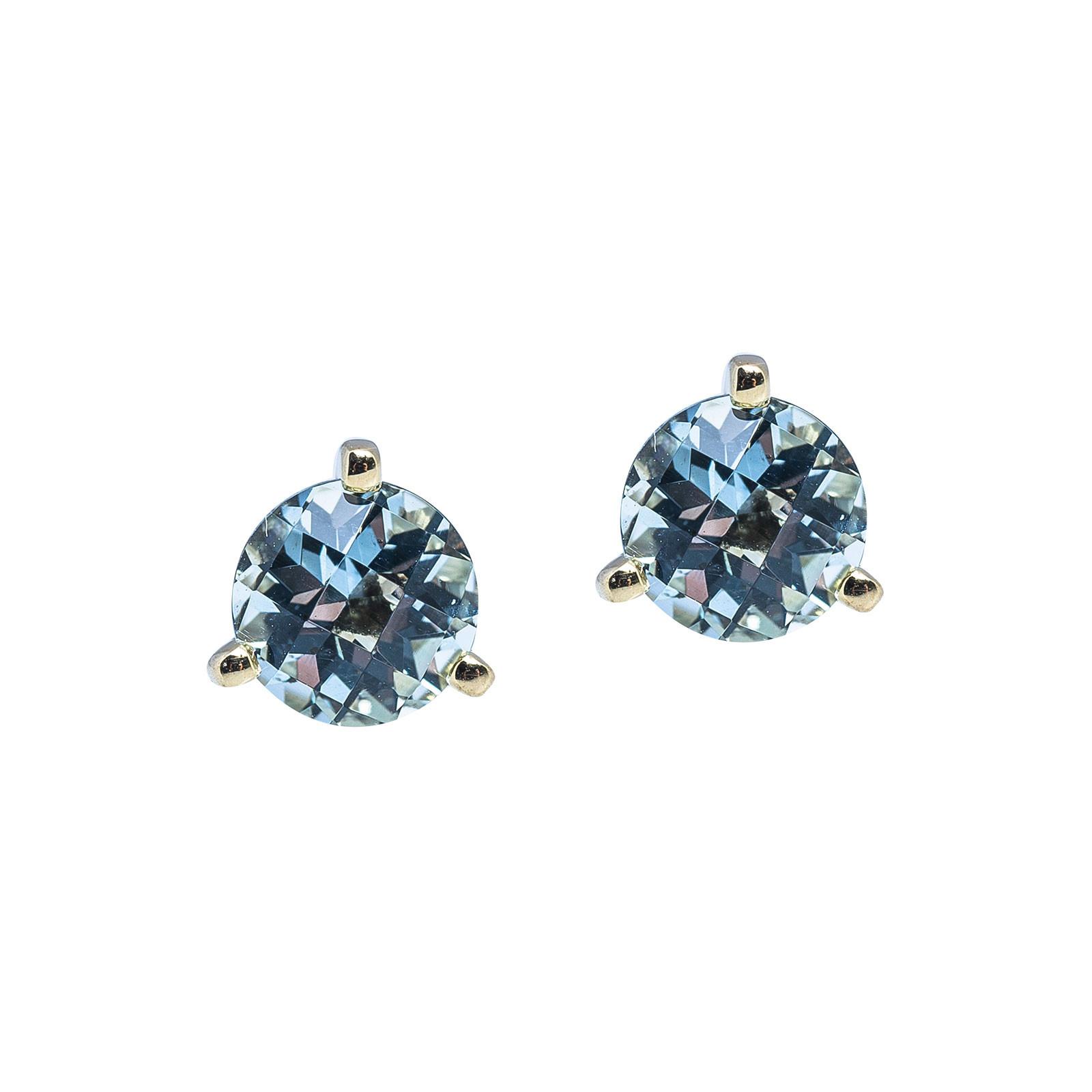 New 1.46 CTW Aquamarine Stud Earrings
