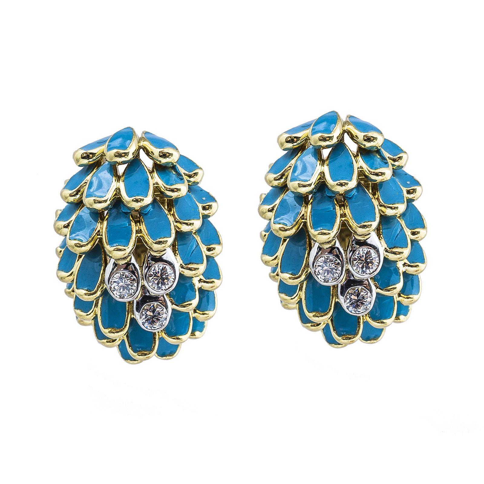 Vintage 0.42 CTW Diamond & Enamel Earrings